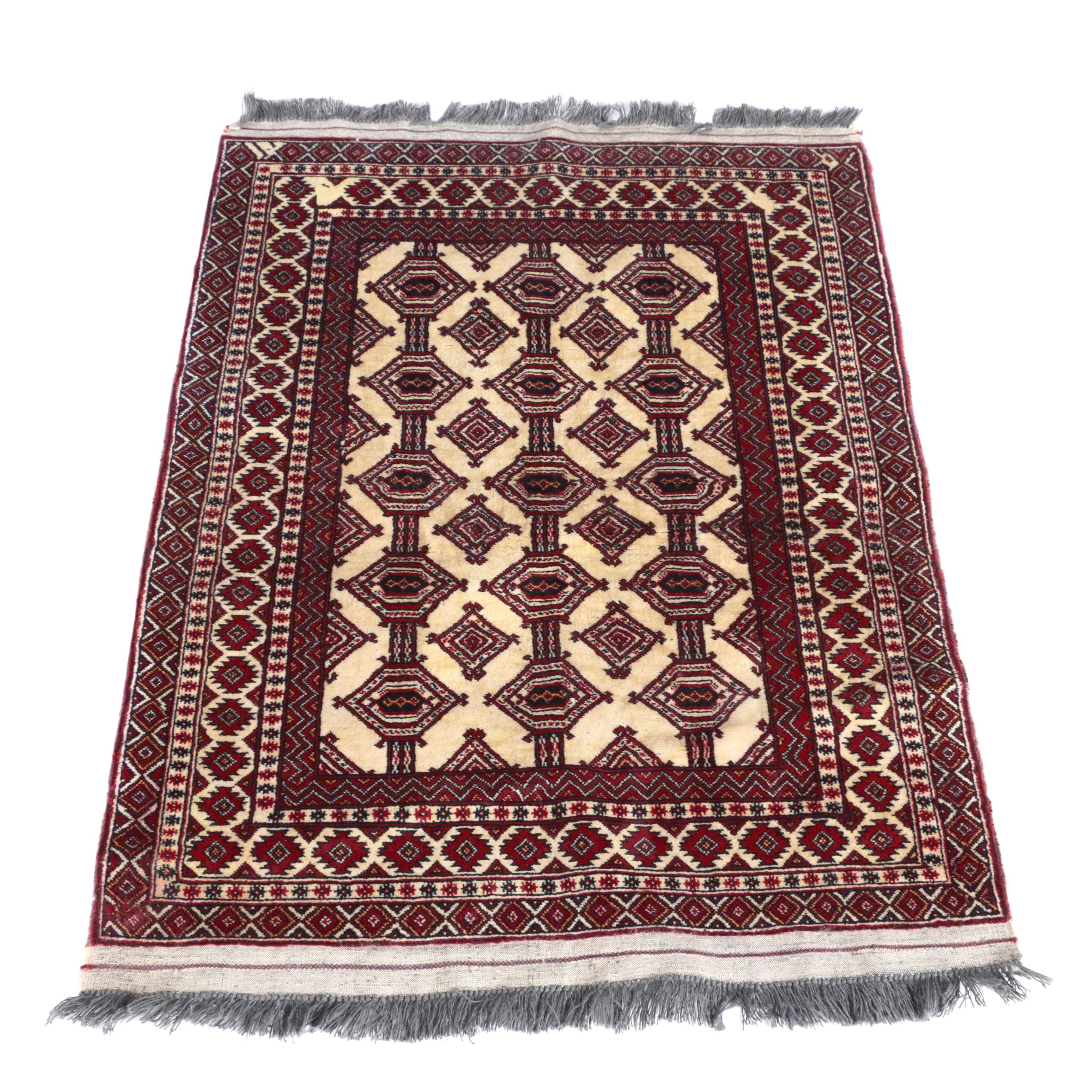 Hand-Knotted Bokhara Jaldar Accent Rug