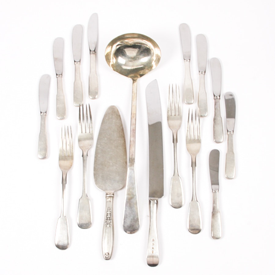 Assortment of Sterling Silver Plated Silver and Russian 875 Silver Flatware ...  sc 1 st  EBTH.com & Assortment of Sterling Silver Plated Silver and Russian 875 Silver ...