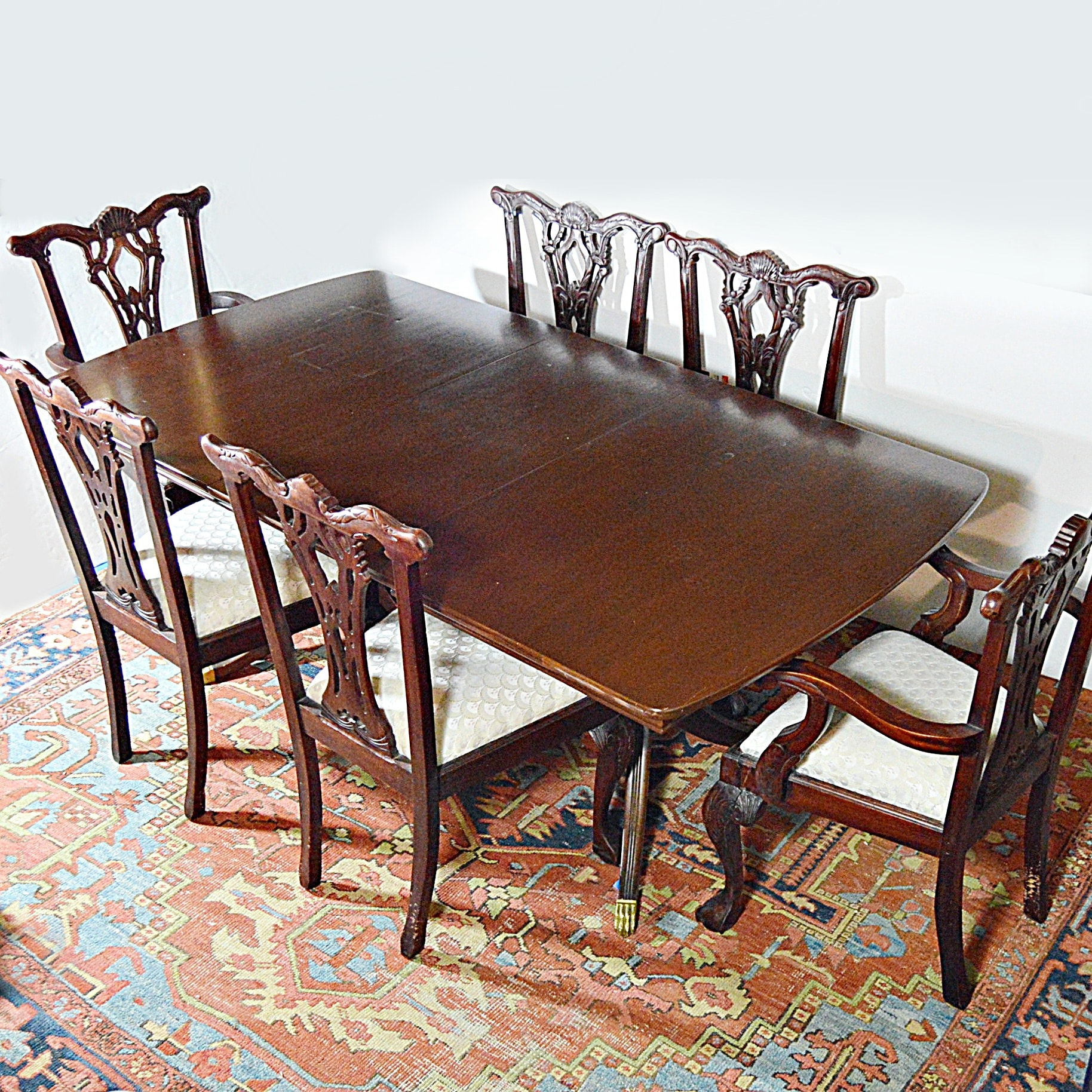 Duncan Phyfe Mahogany Dining Table and Six Chippendale Style Mahogany Chairs