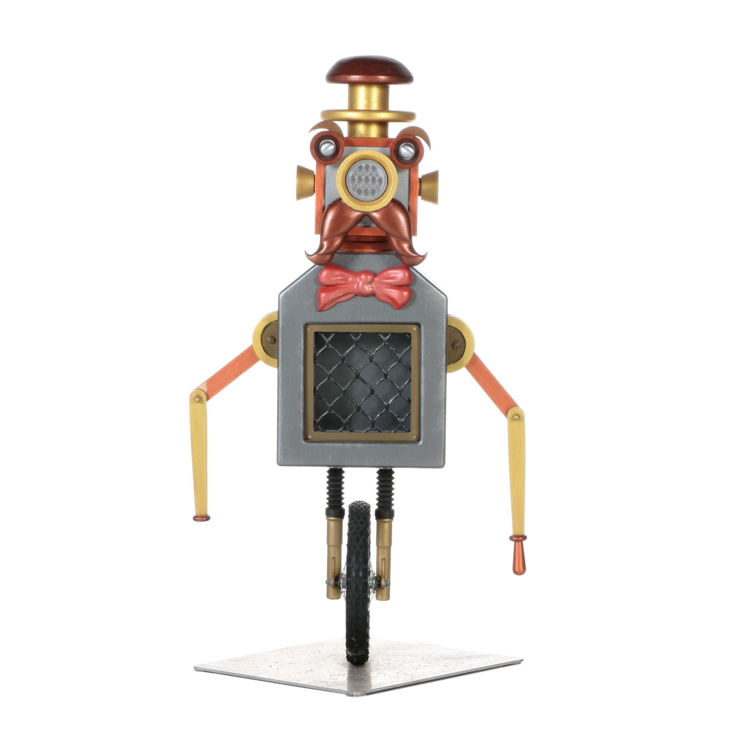Whimsical Mixed Media Robot Sculpture