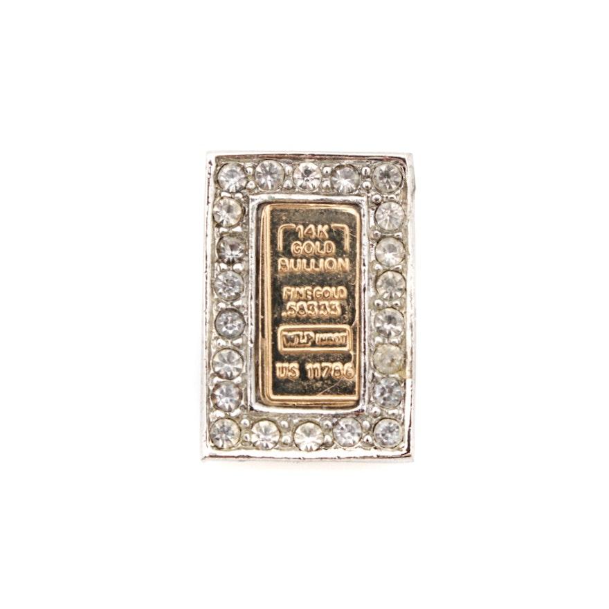 14k Gold Rhinestone Necklace Pendant Ebth