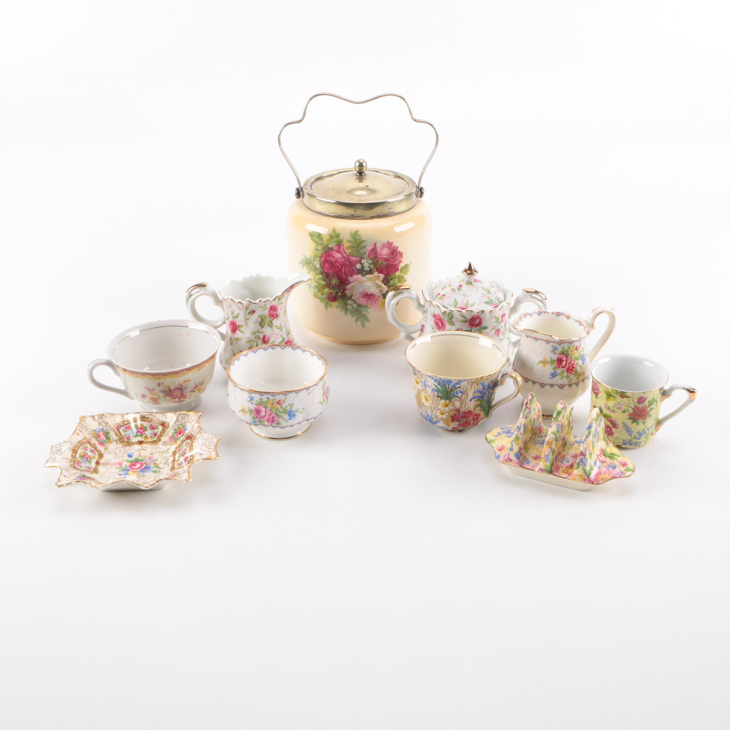 Assorted Floral Motif Ceramic Serveware
