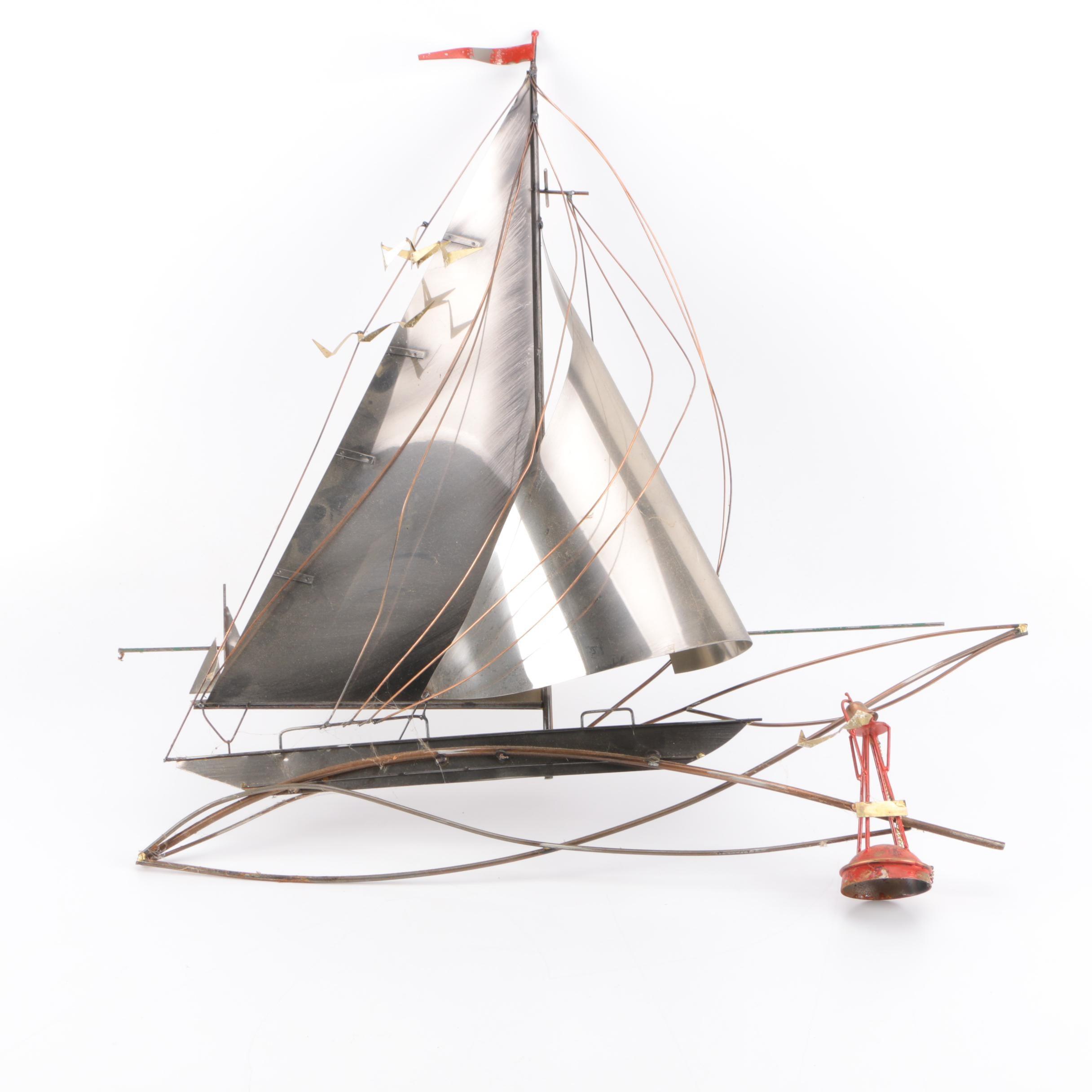 Curtis Jeré Mixed Metal Wall Sculpture of Sailboat on Ocean Waves