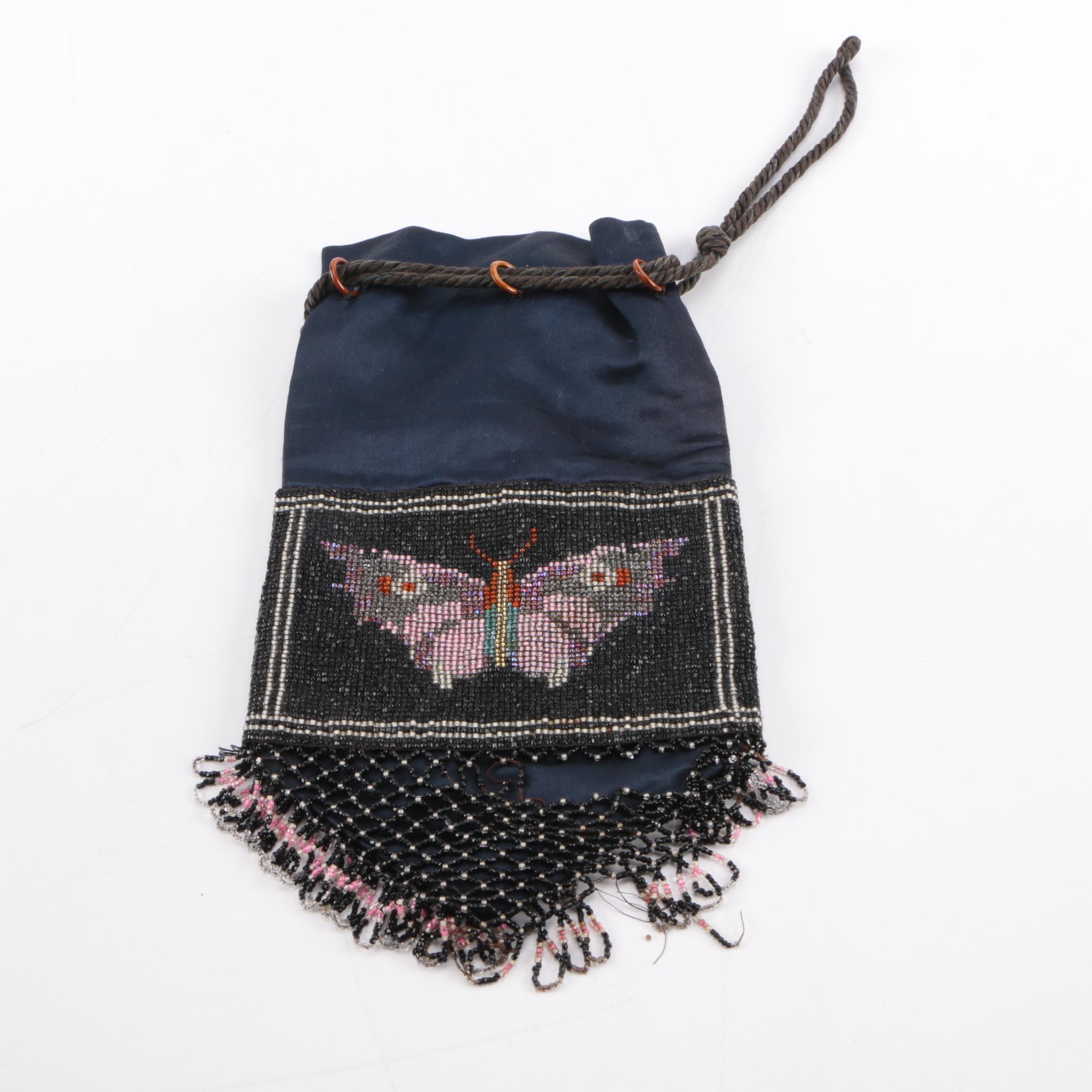 Beaded Drawstring Butterfly Satchel