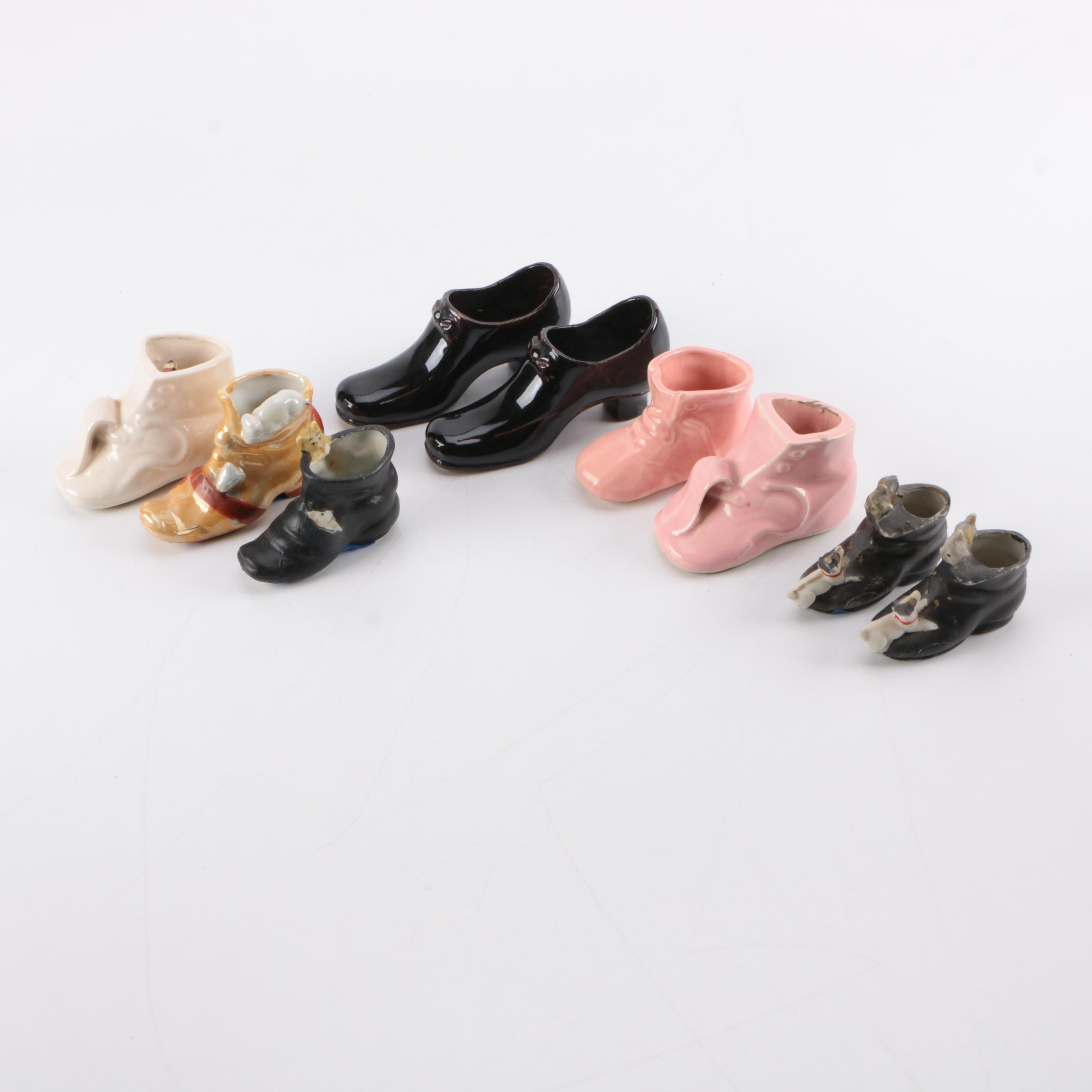 Collection Of Ceramic Shoe Figurines