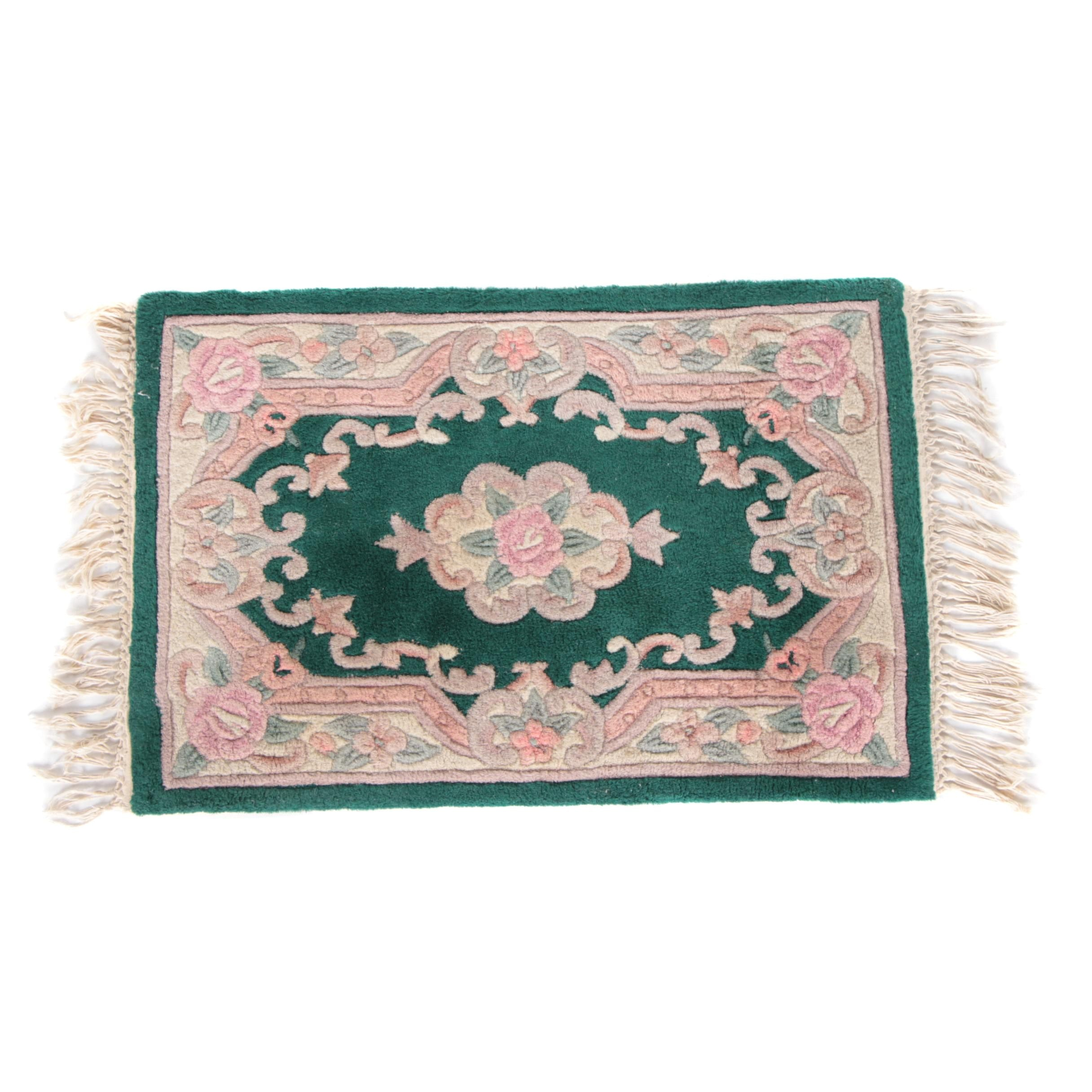 Hand-Tufted and Carved Chinese Floral Accent Rug