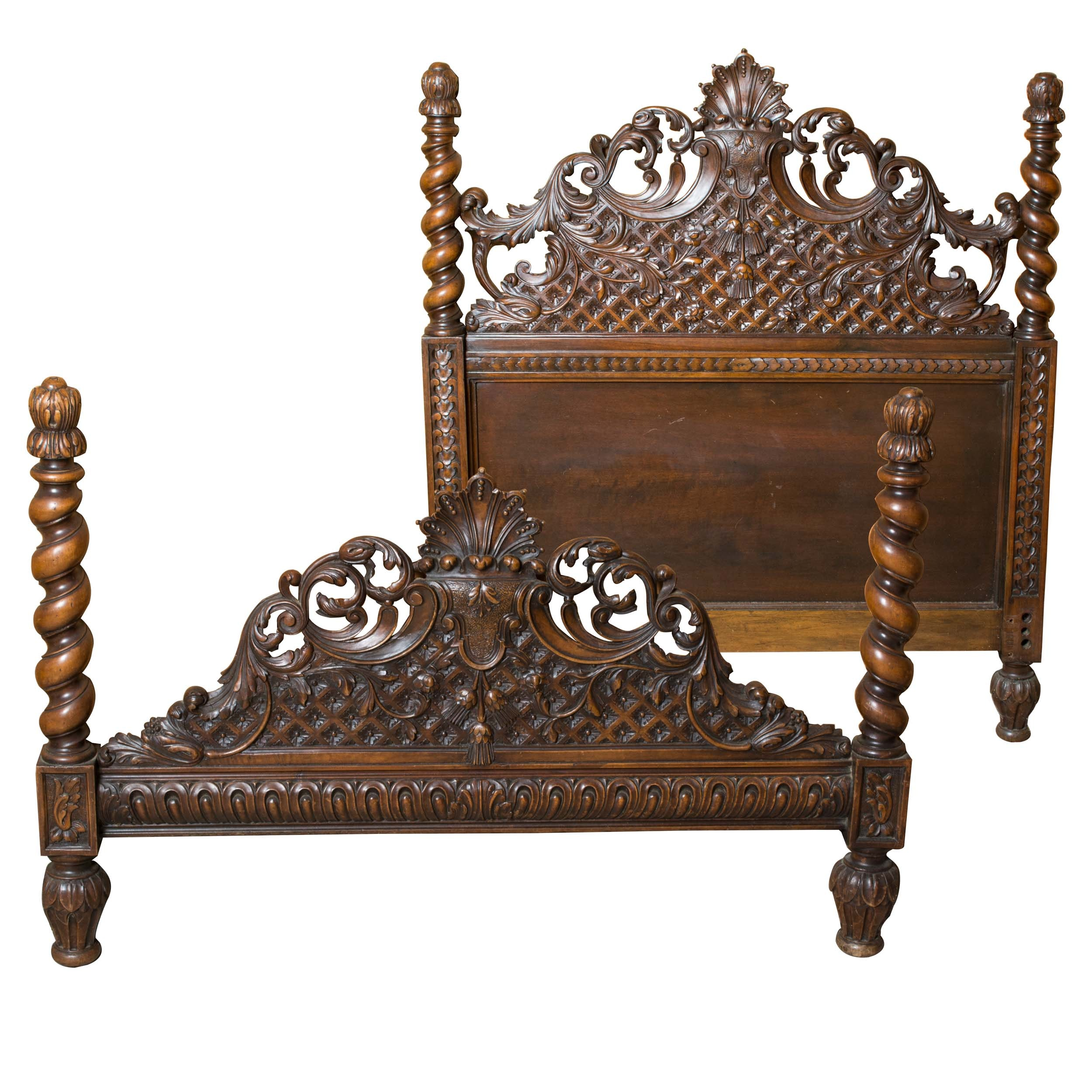Vintage Victorian Style Twin Size Walnut Headboard and Footboard