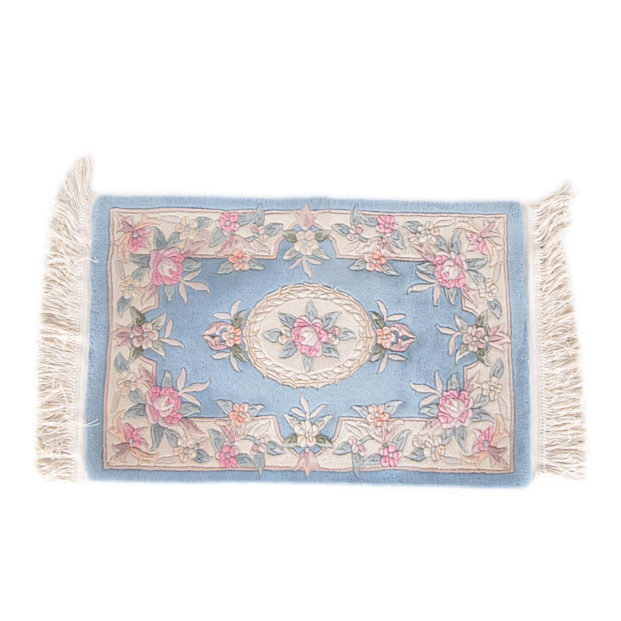 Hand-Knotted and Carved Chinese Accent Rug