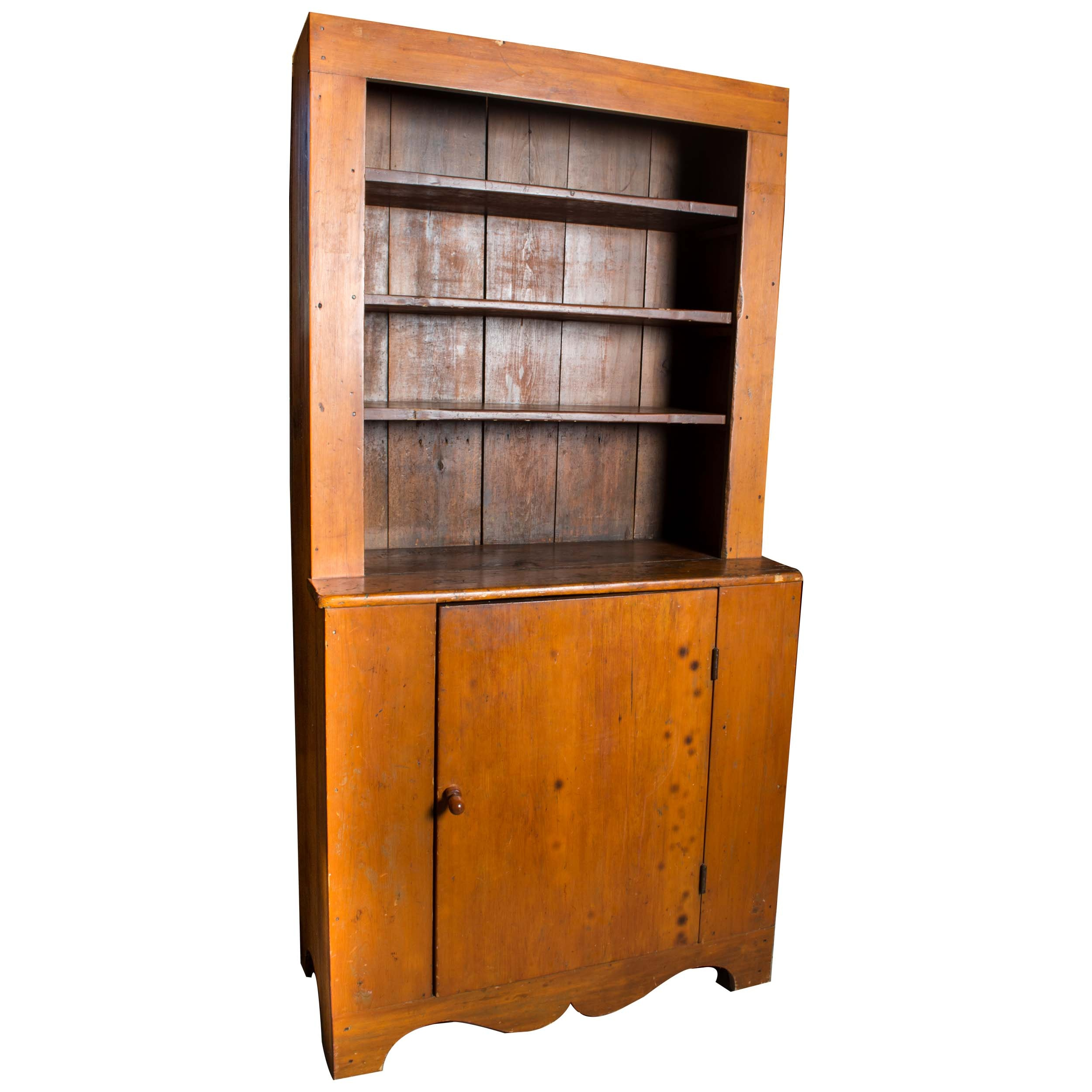 Antique Rustic Cabinet with Stepback Hutch