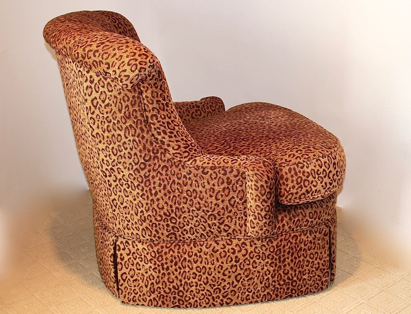 Hickory White Leopard Print Swivel Chair Ottoman Ebth