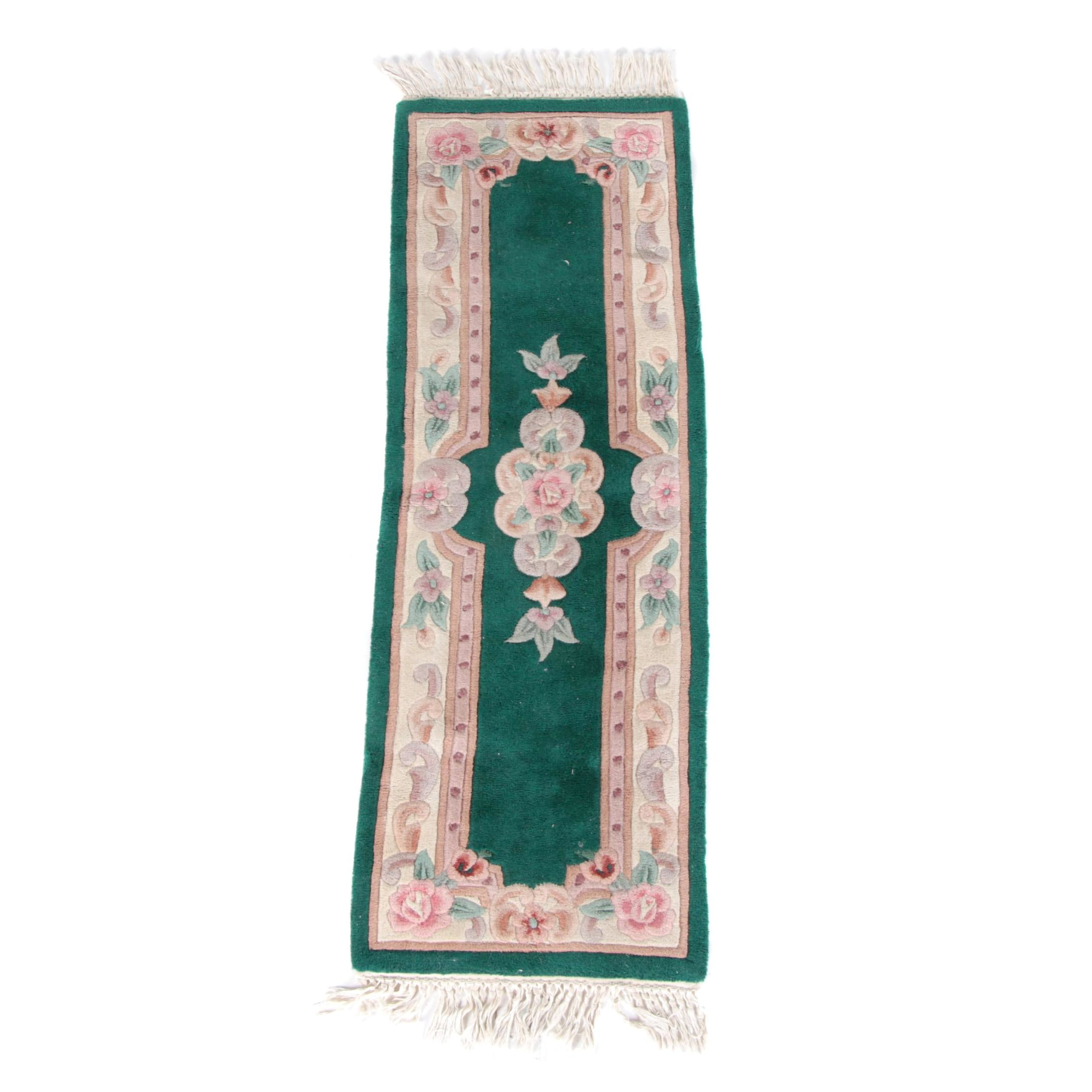 Hand-Tufted and Carved Chinese Carpet Runner