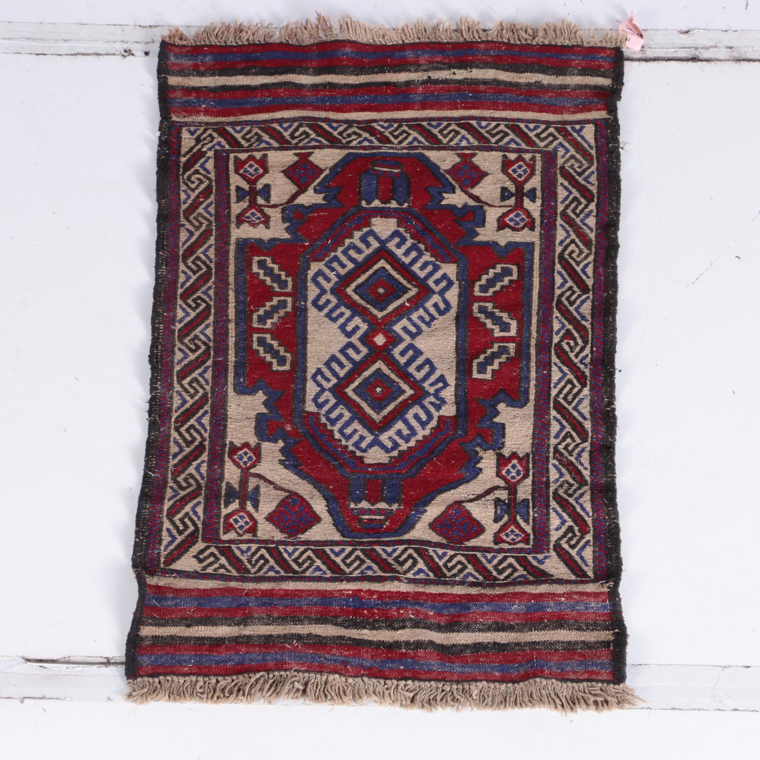 Semi-Antique Handwoven Central Asian Accent Rug/Wall Hanging