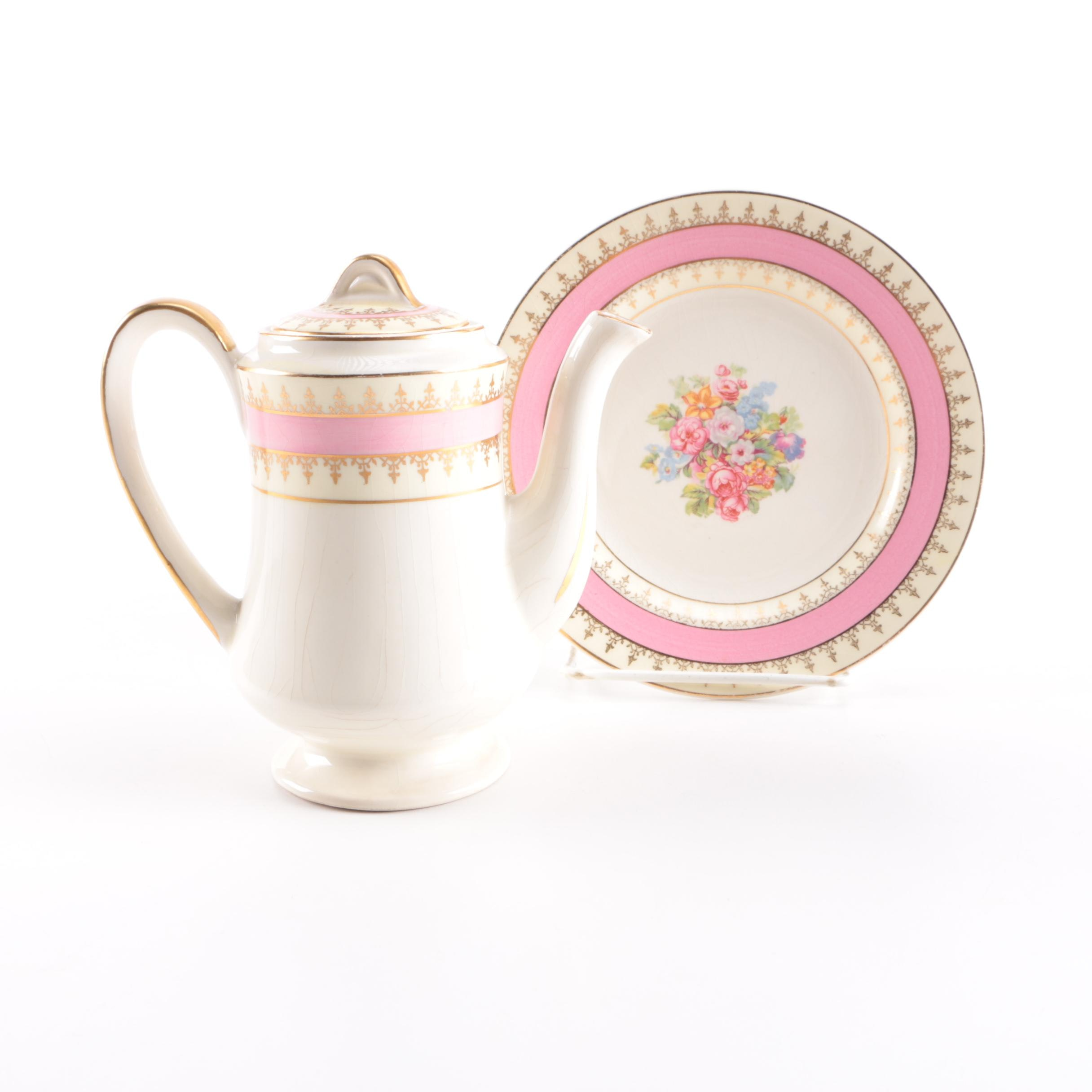 Steubenville Ceramic Teapot and Plate