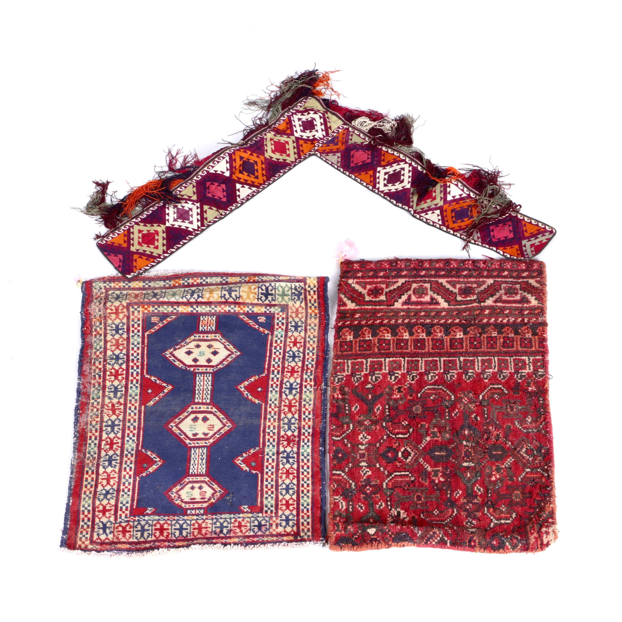 Turkmen and Persian Tribal Rug, Bagface, and Kapunuk