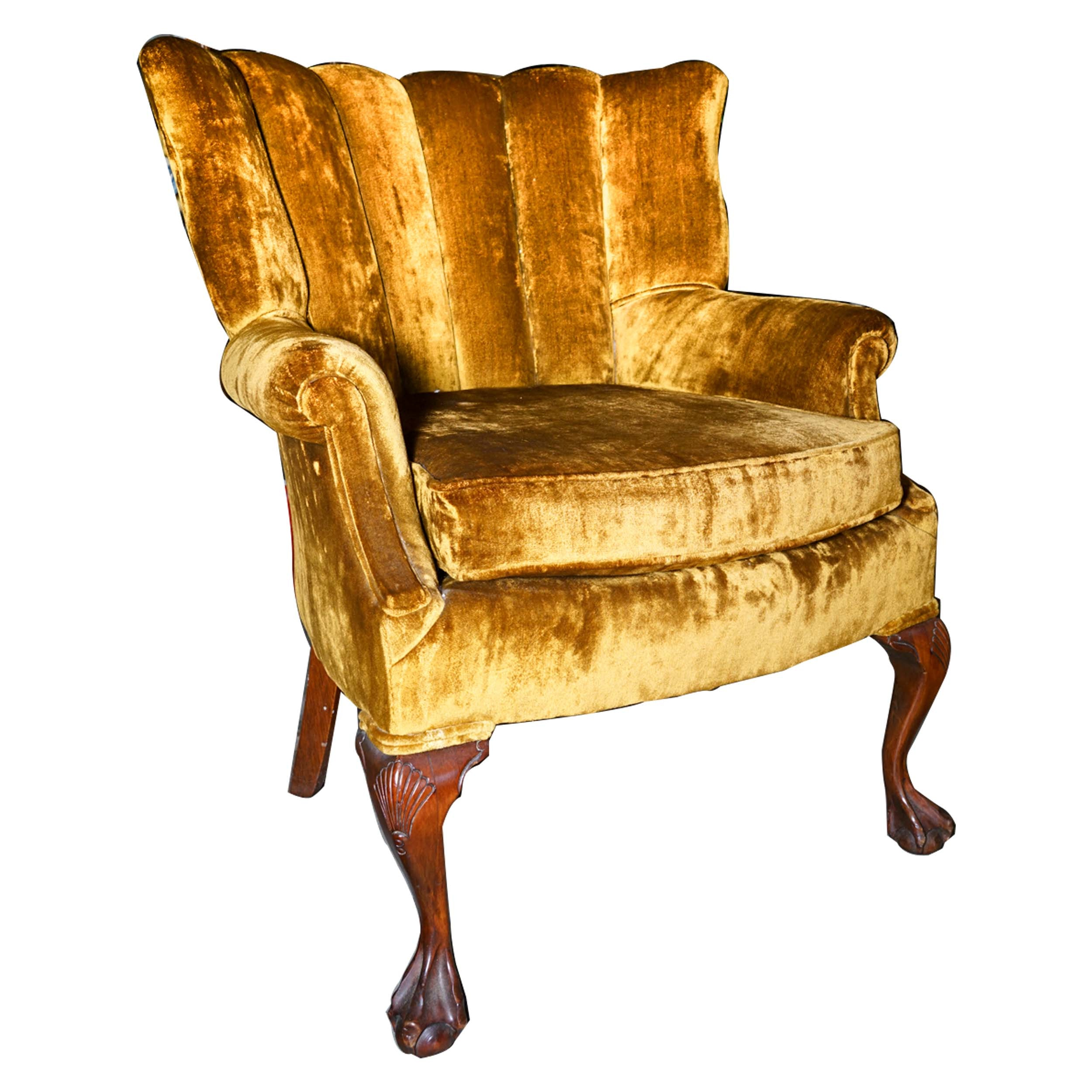 Chippendale Style Channel Back Crushed Velvet Chair