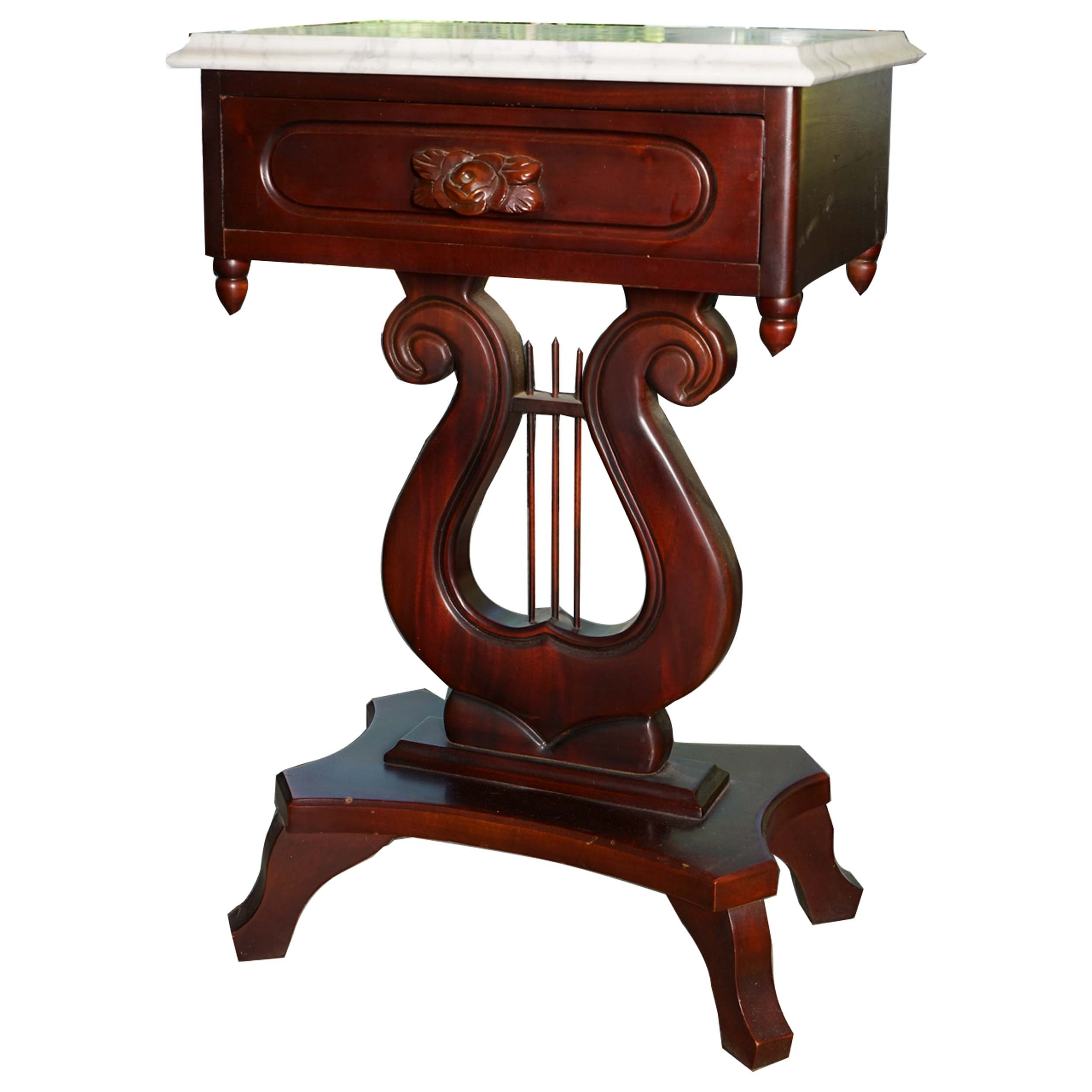 Victorian Style Lyre Accent Table with Marble Top