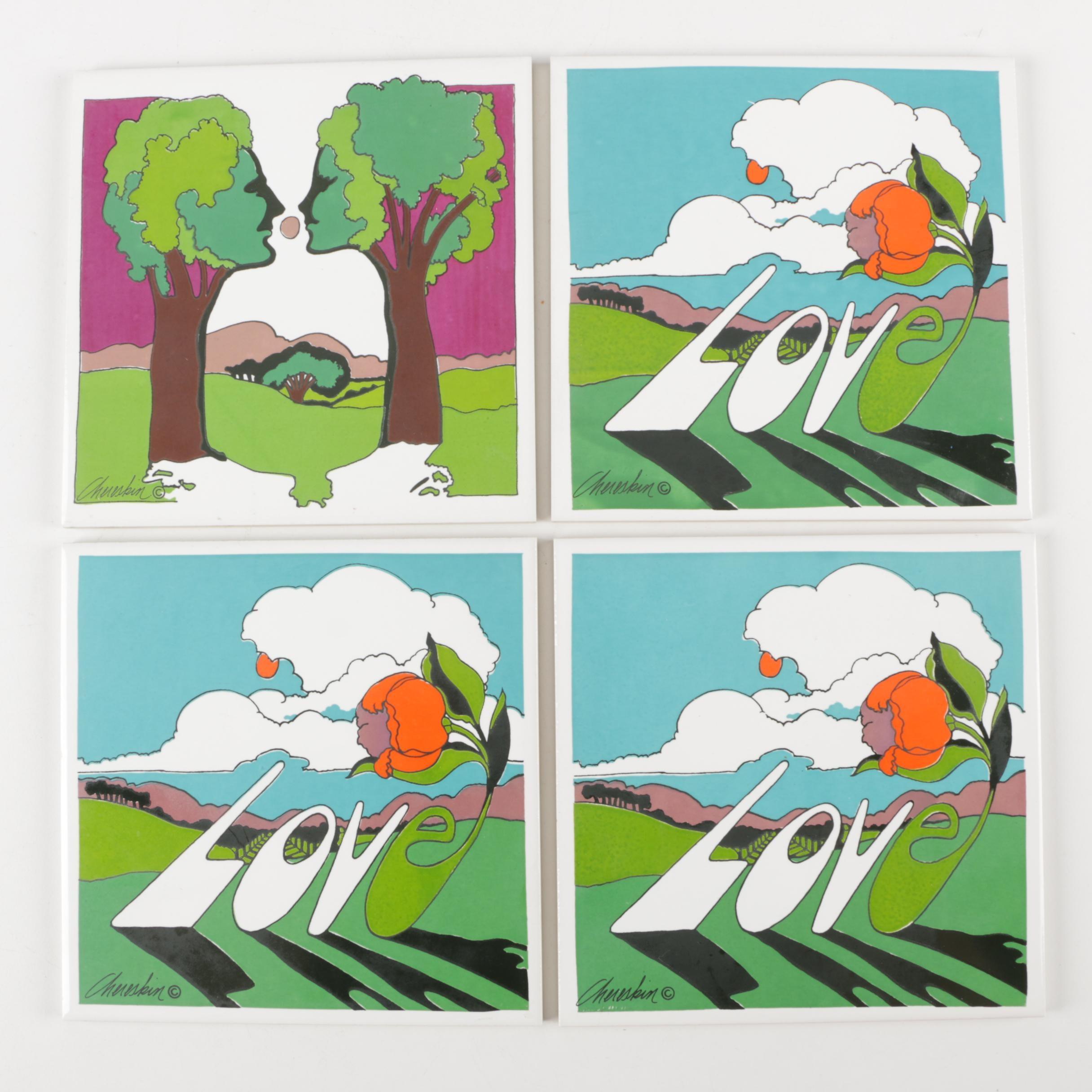 "H & R Johnson Ltd Painted Tiles ""Love"""
