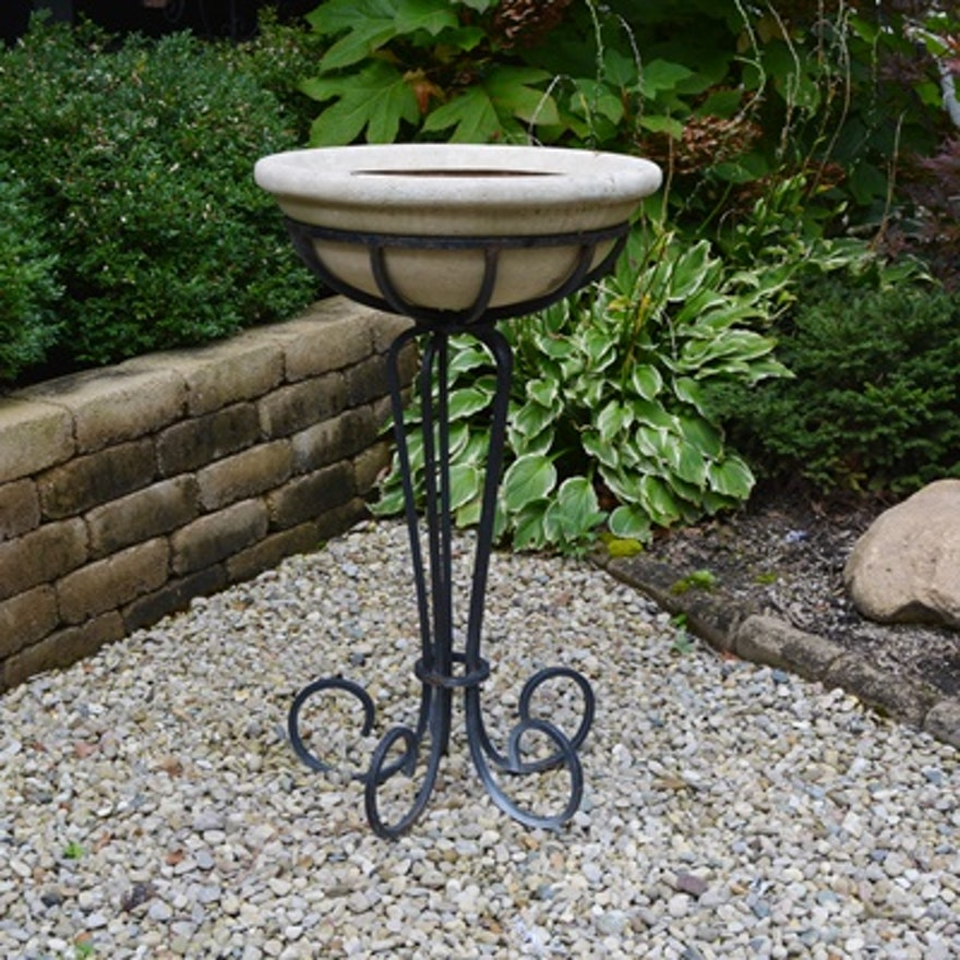Wrought Iron Plant Stand With Basin