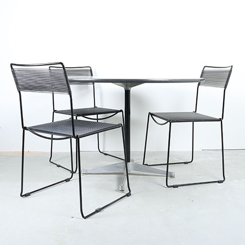 Mid Century Modern Dining Table By Eames For Herman Miller With String  Chairs