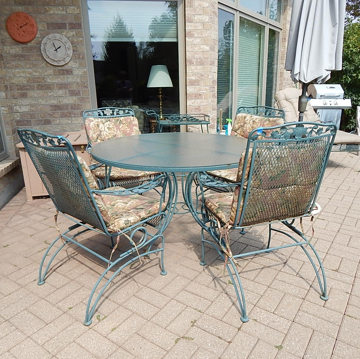 Patio Table and Four Chairs, Cart, Umbrella