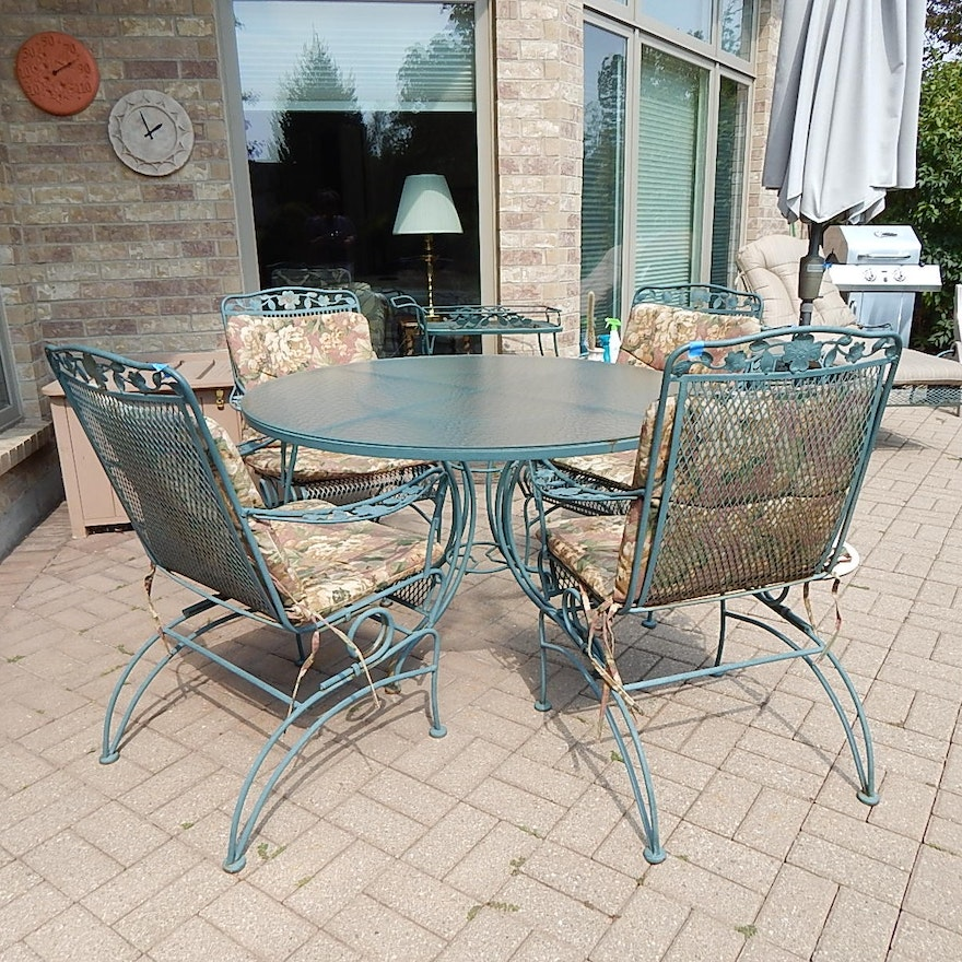 Tropitone Patio Table And Four Chairs Cart Umbrella Ebth