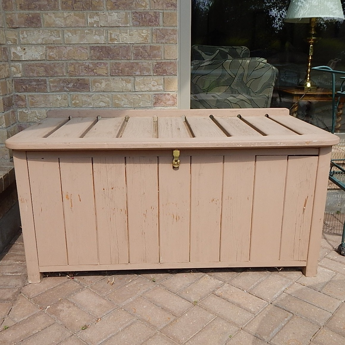 Painted Wood Outdoor Storage Chest