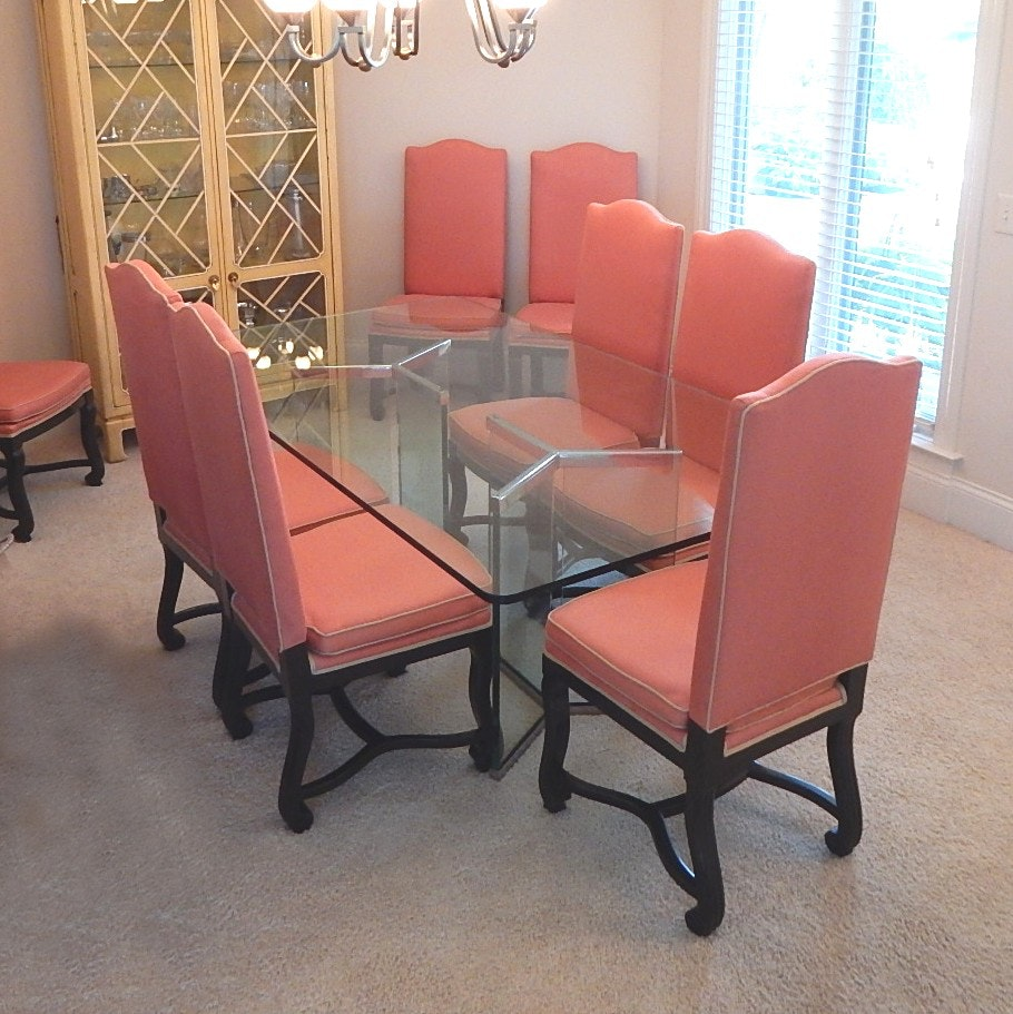 Modern Dining Set with Glass Table and Eight Chairs
