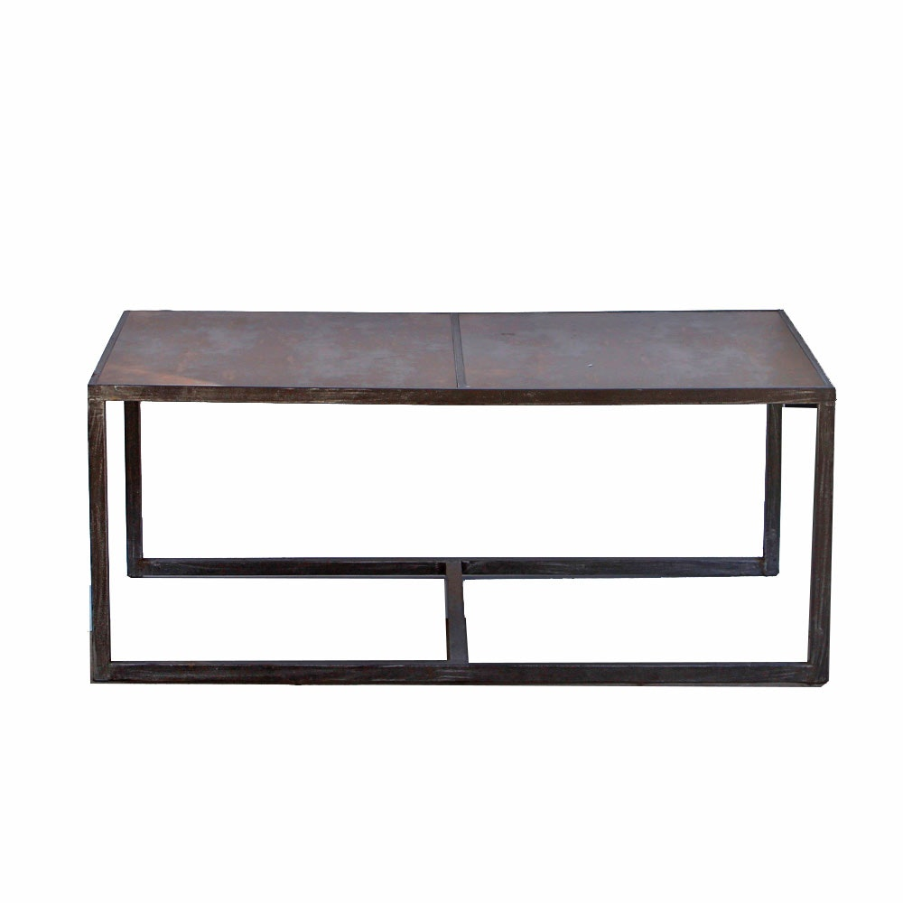 Distressed Metal Industrial Style Coffee Table