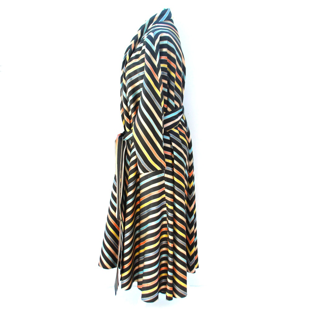 1950 S Maxan Striped Hostess Gown Ebth