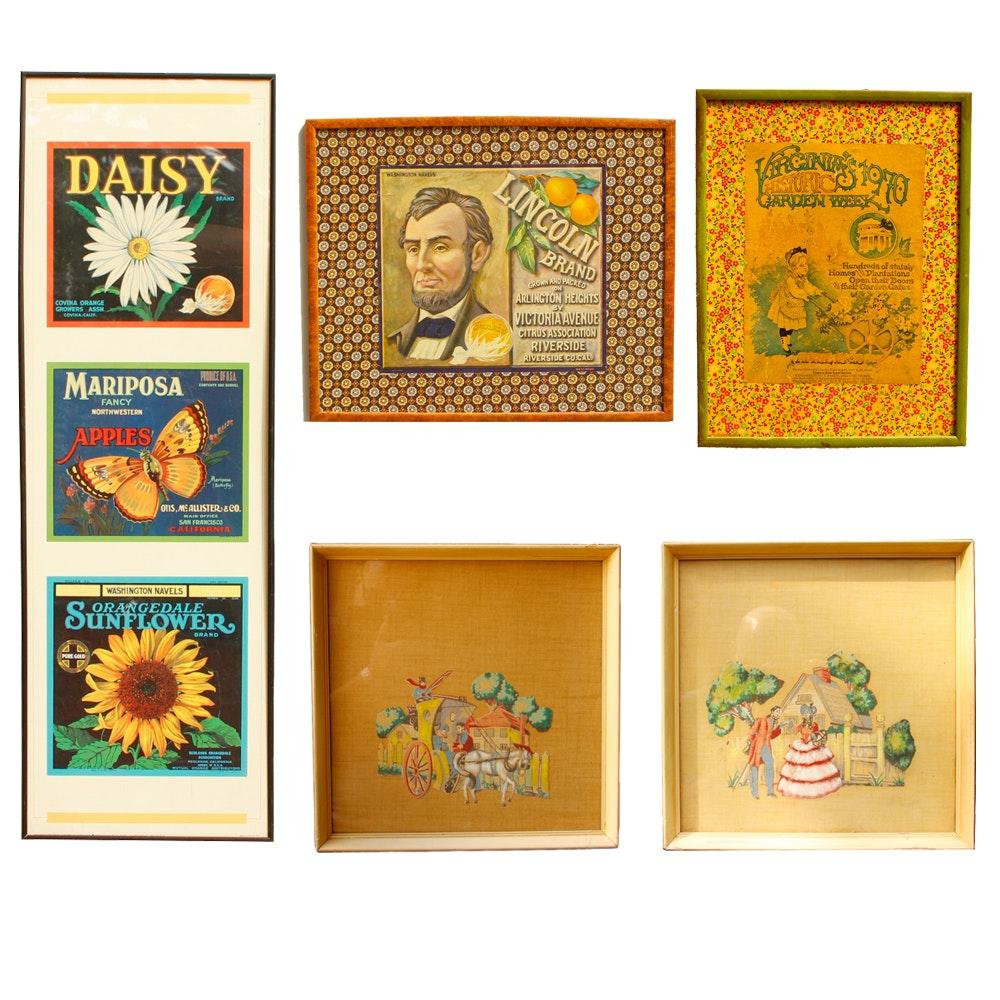Assortment of Framed Vintage Fruit Labels  and Advertisements