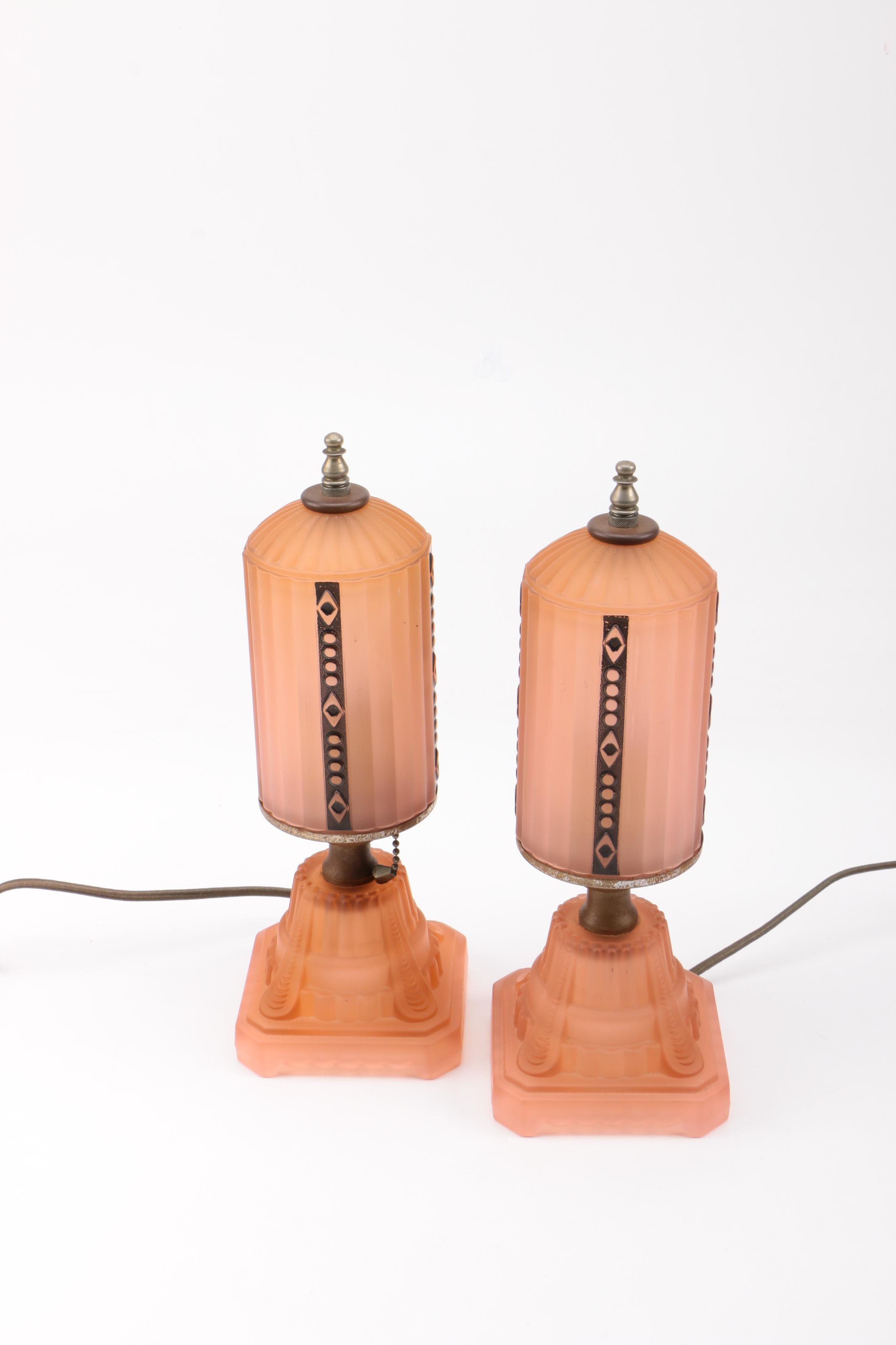 Vintage Art Deco Style Satin Glass Boudoir Lamps ...
