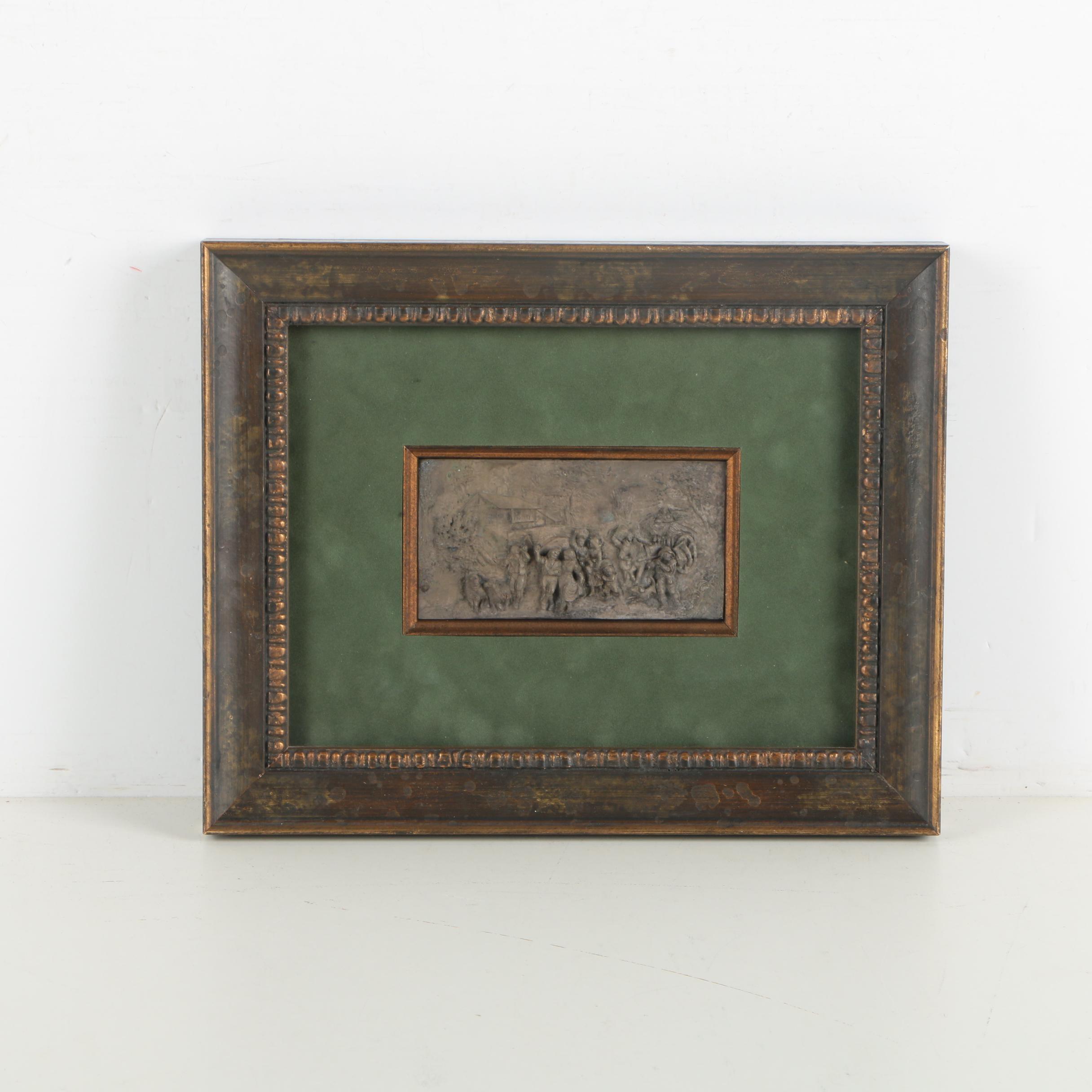 Copper Bas Relief Plate of a Dutch Pastoral Scene