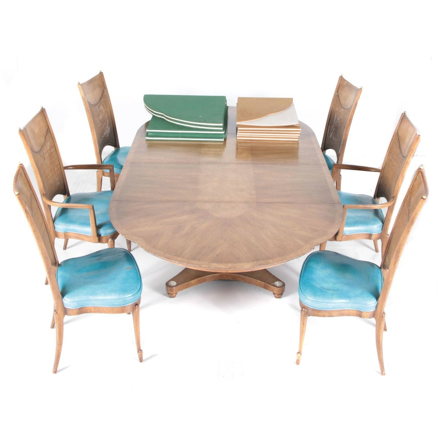 MidCentury Pedestal Dining Table With Chairs By Mastercraft - Mid century pedestal dining table