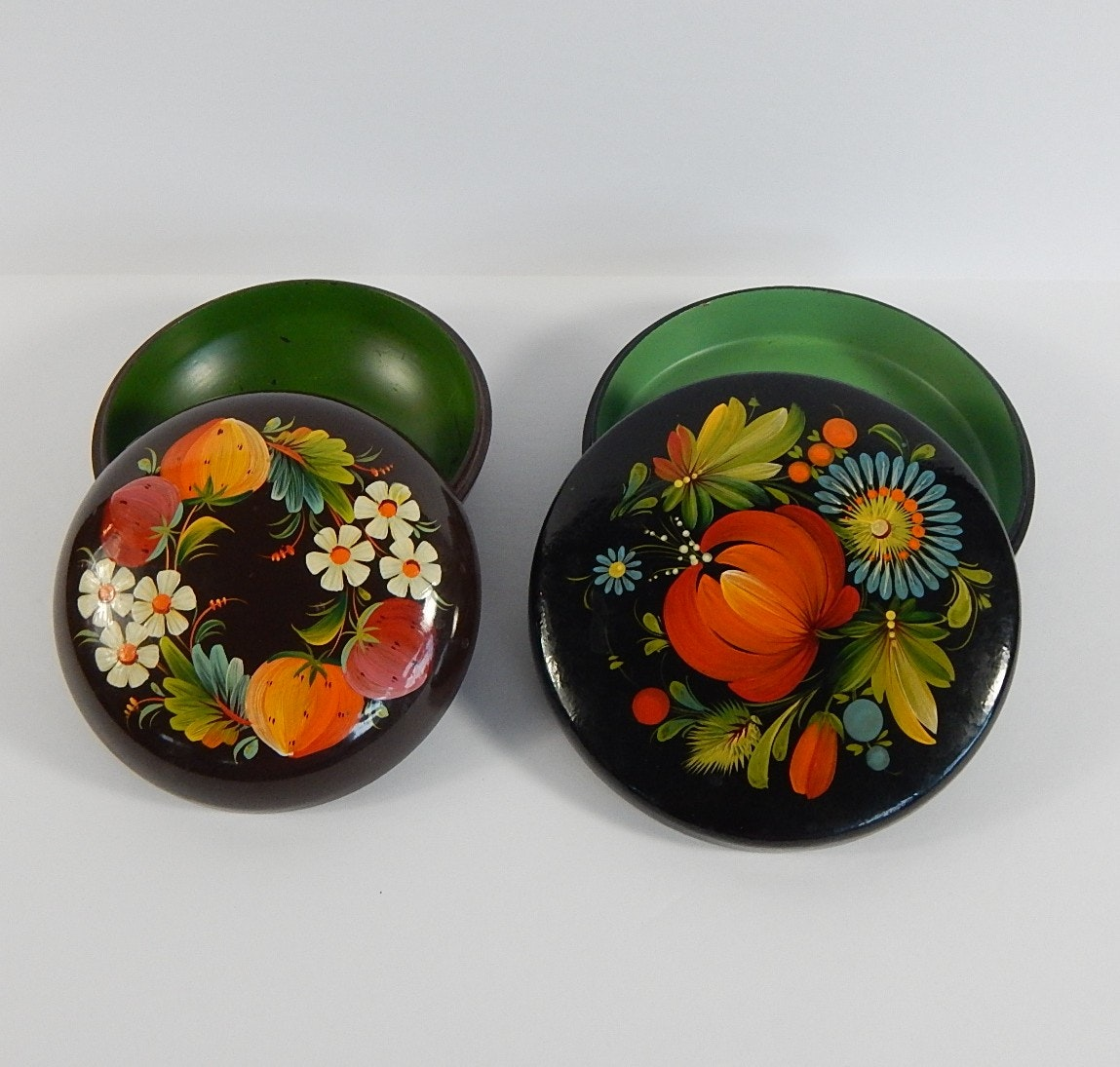 Two Signed Russian Lacquered Trinket Boxes