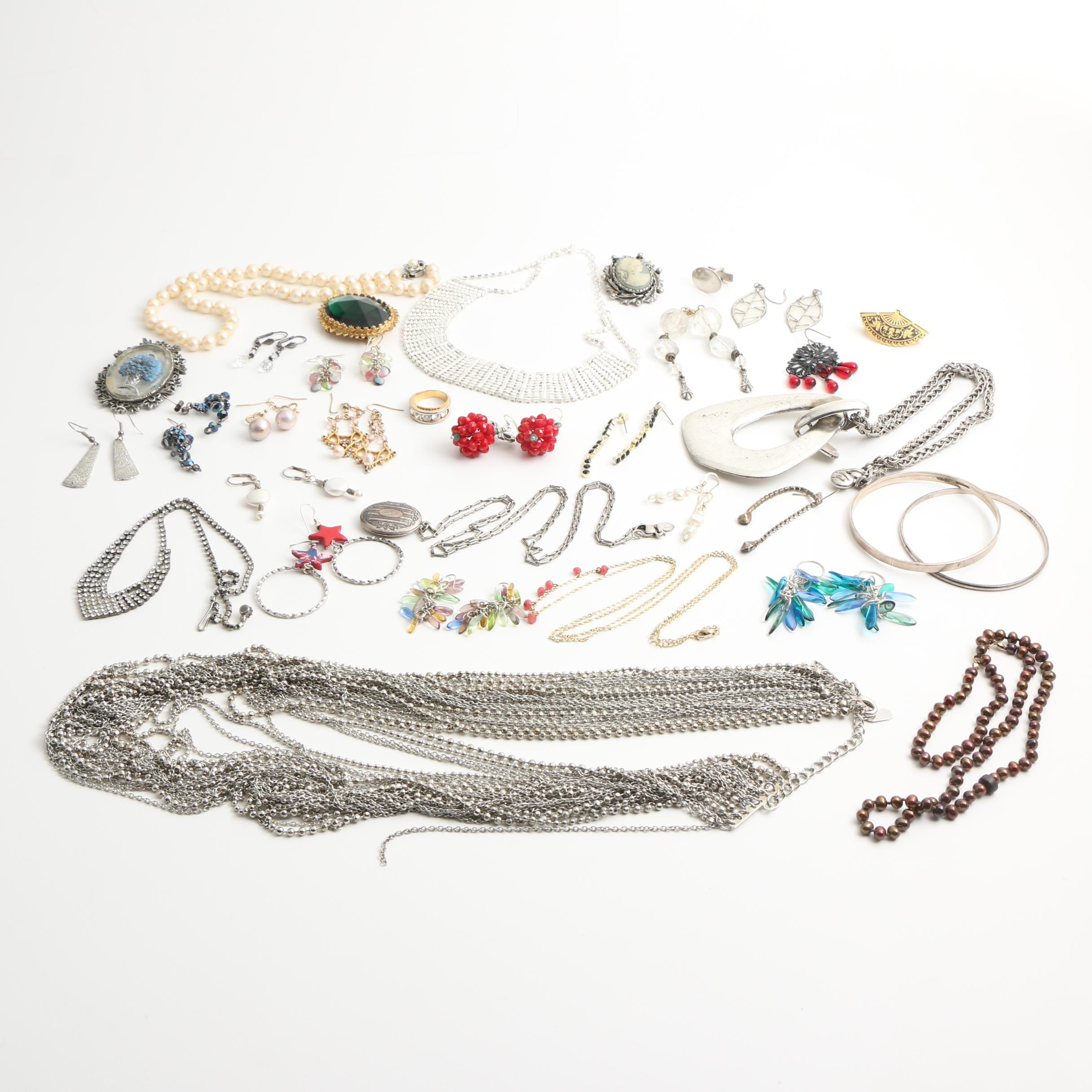 Assortment of Costume and Sterling Silver Jewelry