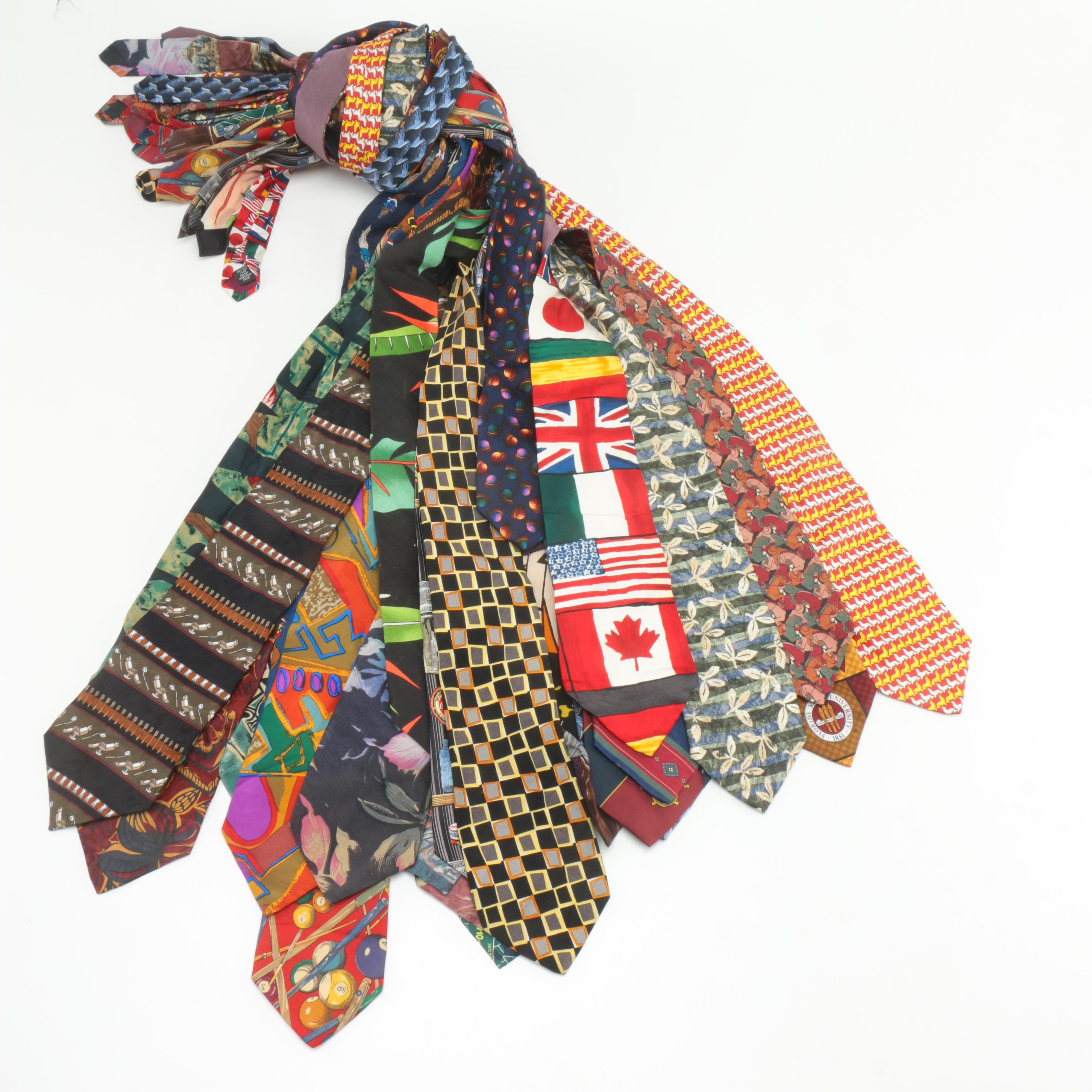 Novelty and Commemorative Men's Silk Ties Including Bugatchi Uomo