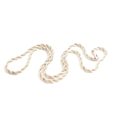 Precious Precious Sterling Silver Necklace with 14K Yellow Gold Accent