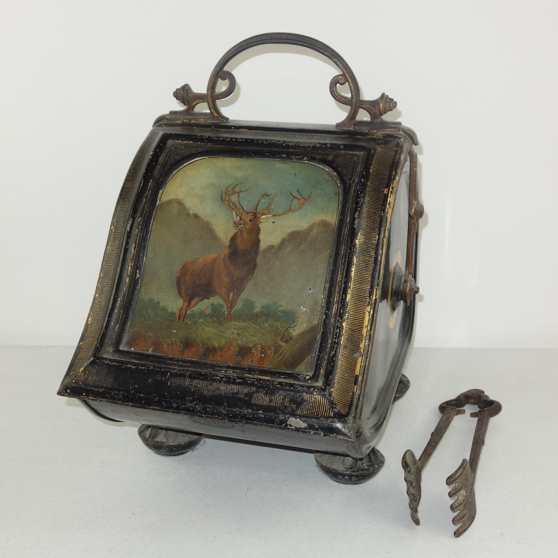 Antique Victorian Toleware  Coal Scuttle