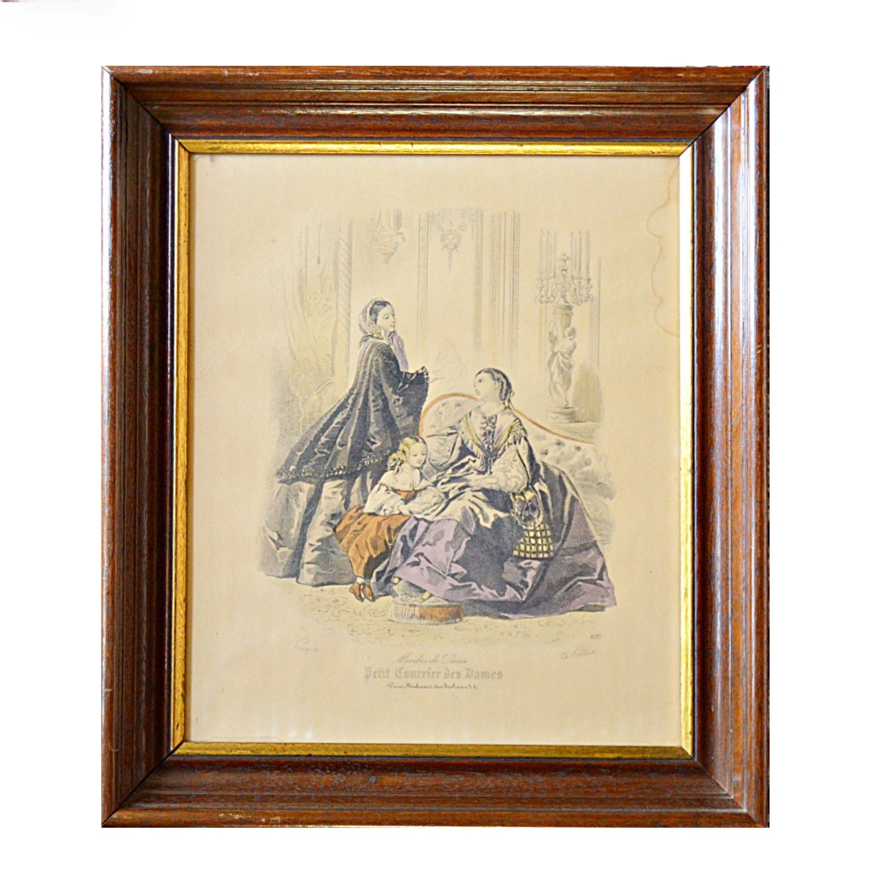 """19th Century Hand Tinted Fashion Engraving Titled """"Le Follett"""""""