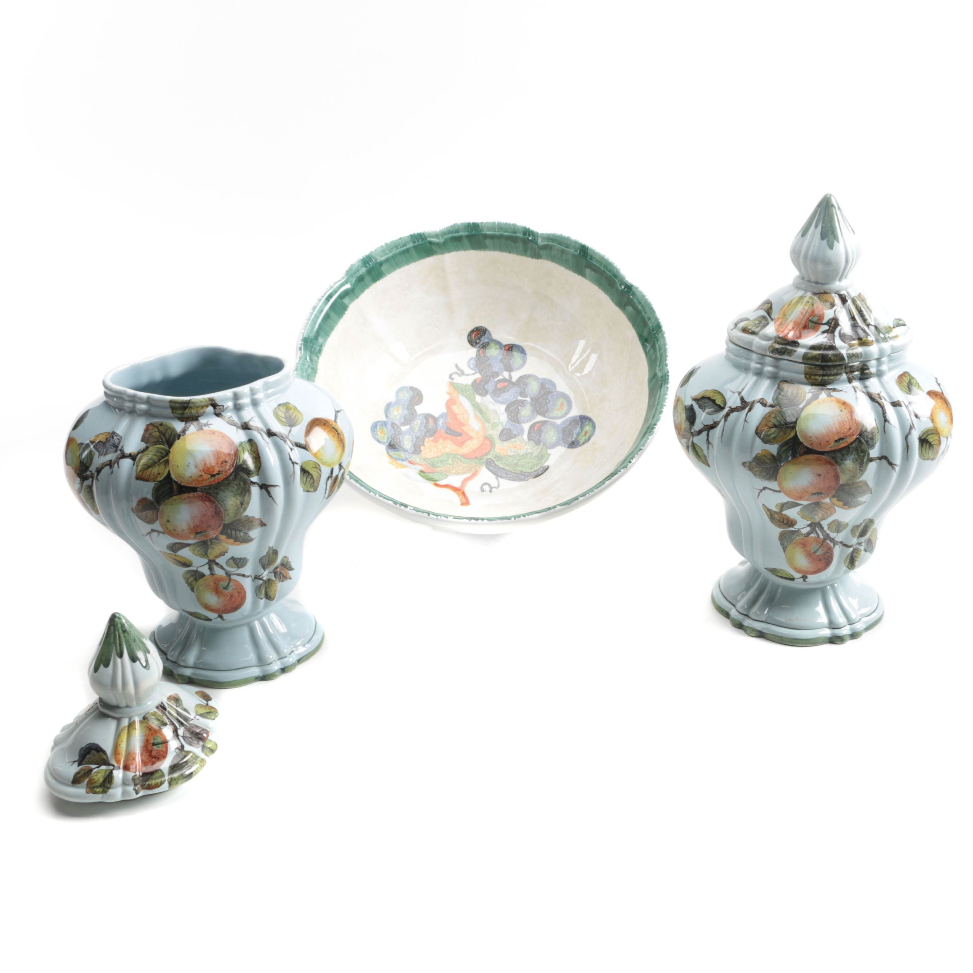 Decorative Hand-Painted Italian Ceramic Bowl and Lidded Urns