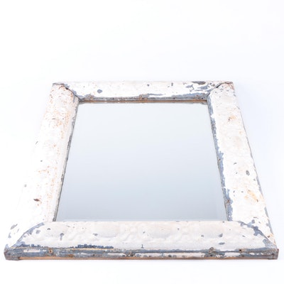 Distressed Metal and Wood Wall Mirror