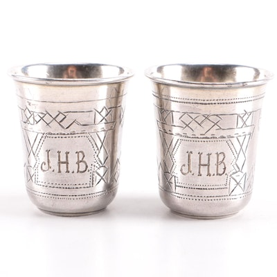 Pair of Antique Monogrammed Russian 875 Silver Vodka Cups