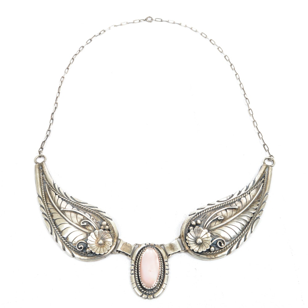 Native American Style Sterling Silver Mother of Pearl Wing Necklace