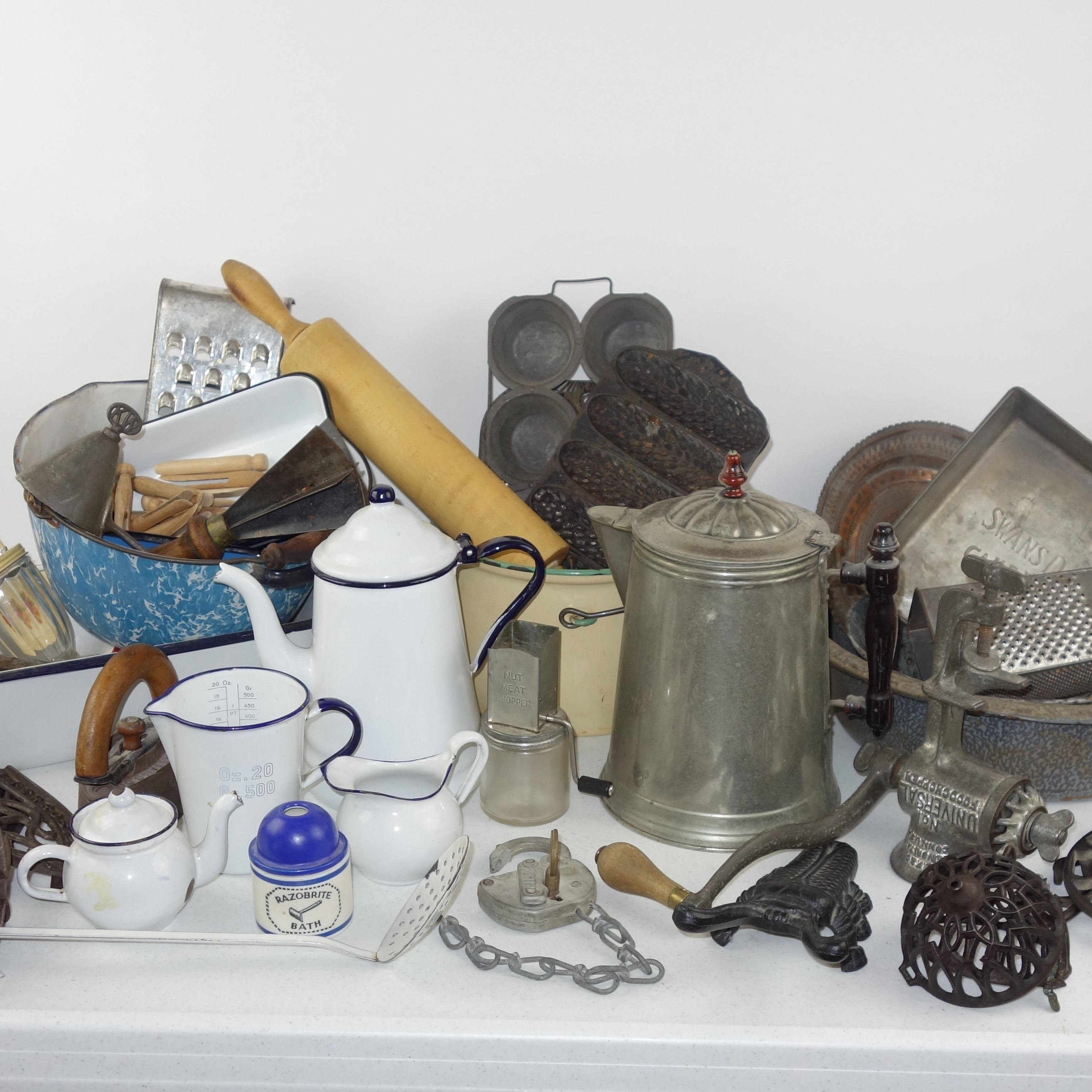 Collection of Vintage Kitchenware including Cast Iron and Enamelware