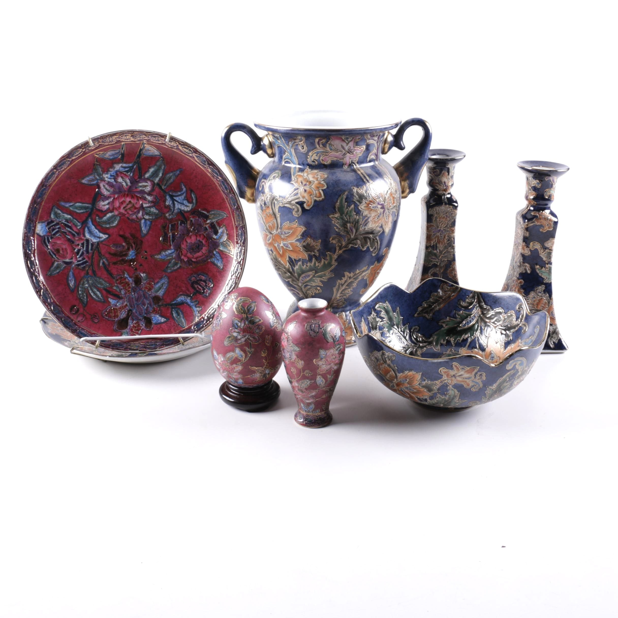 Grouping of Handpainted Ceramic Vessels