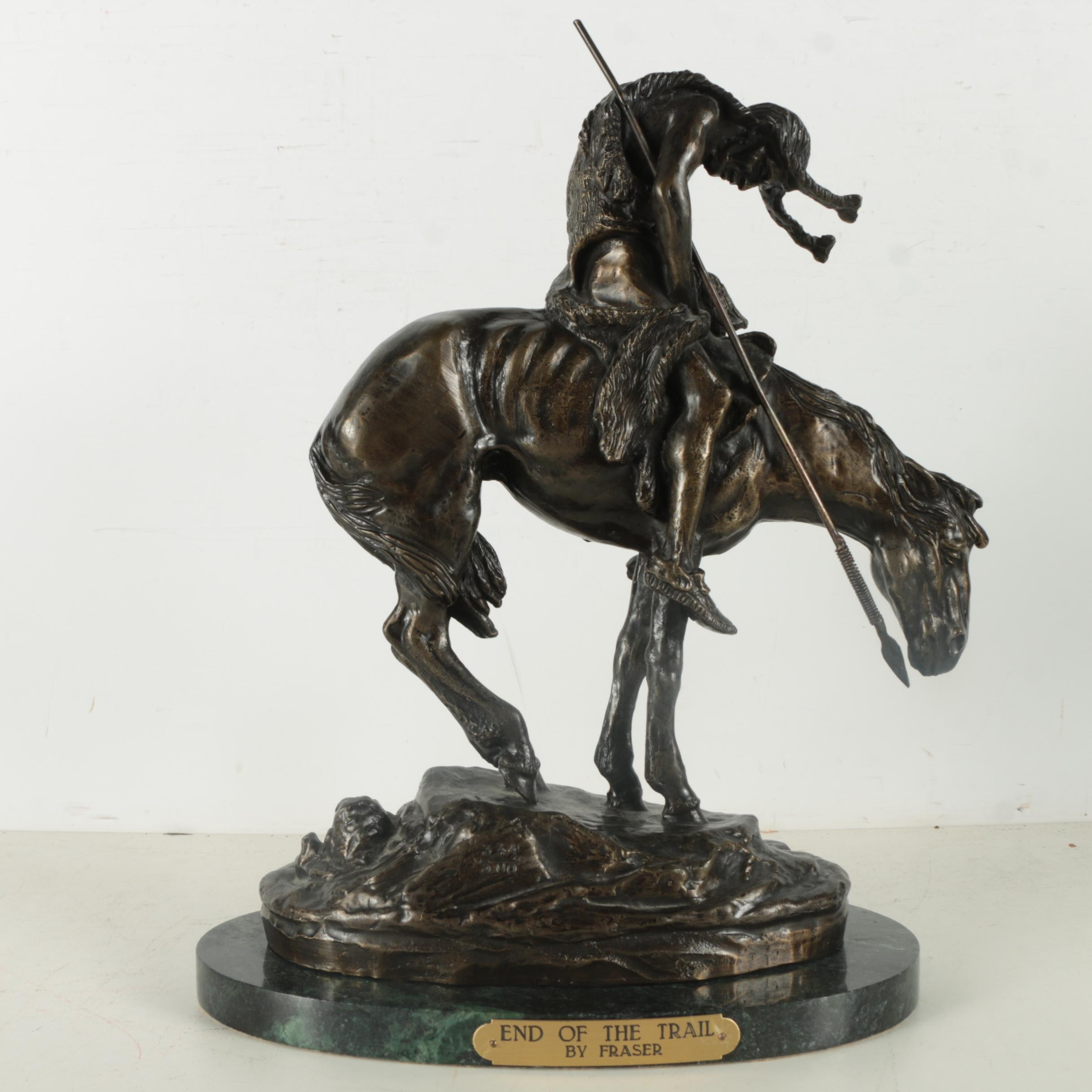 """Limited Edition Bronze Statue After James Earle Fraser's  """"End of the Trail"""""""