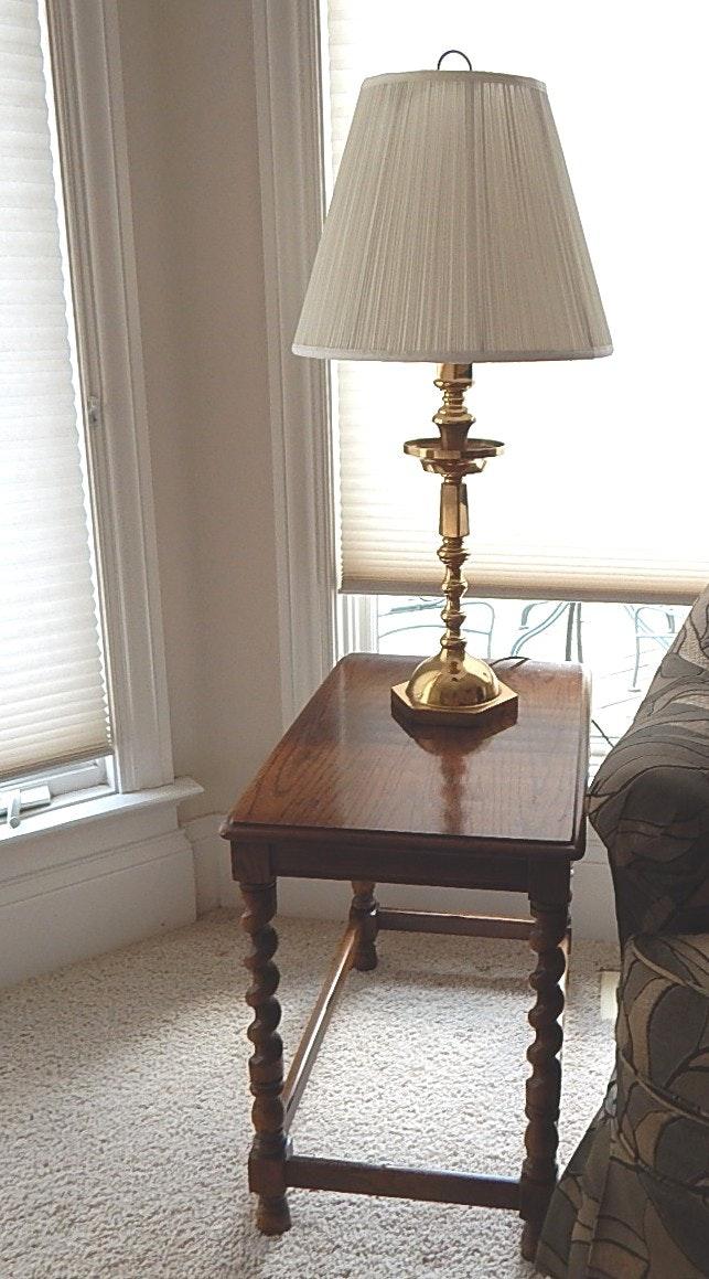 Henredon Oak Barley Twist Side Table And Table Lamp ...