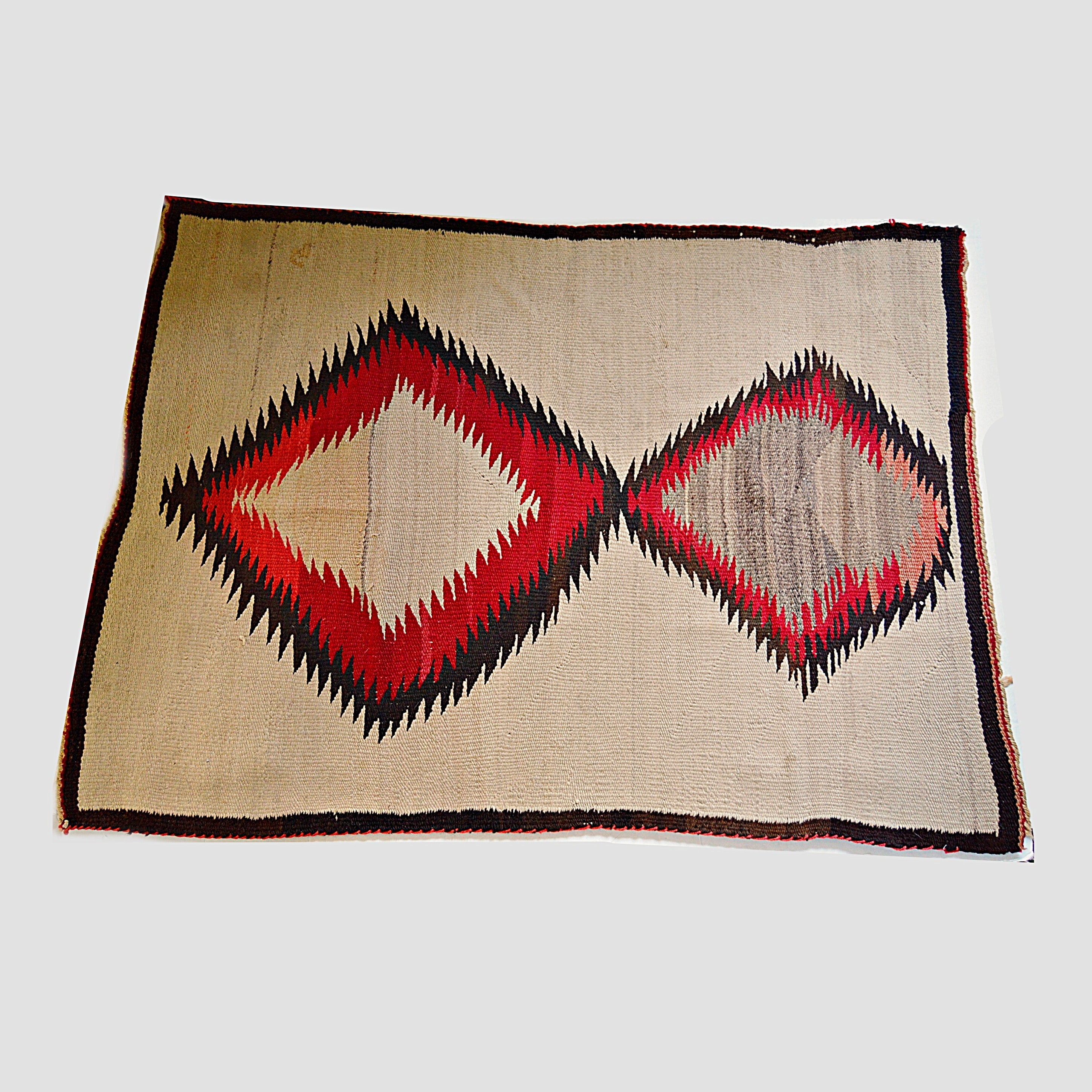 Vintage Handwoven Native American Style Wool Area Rug