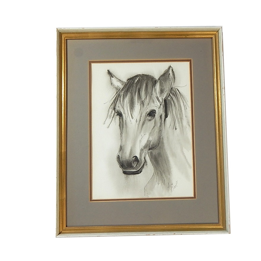 Framed Alice Clark Horse Sketching : EBTH
