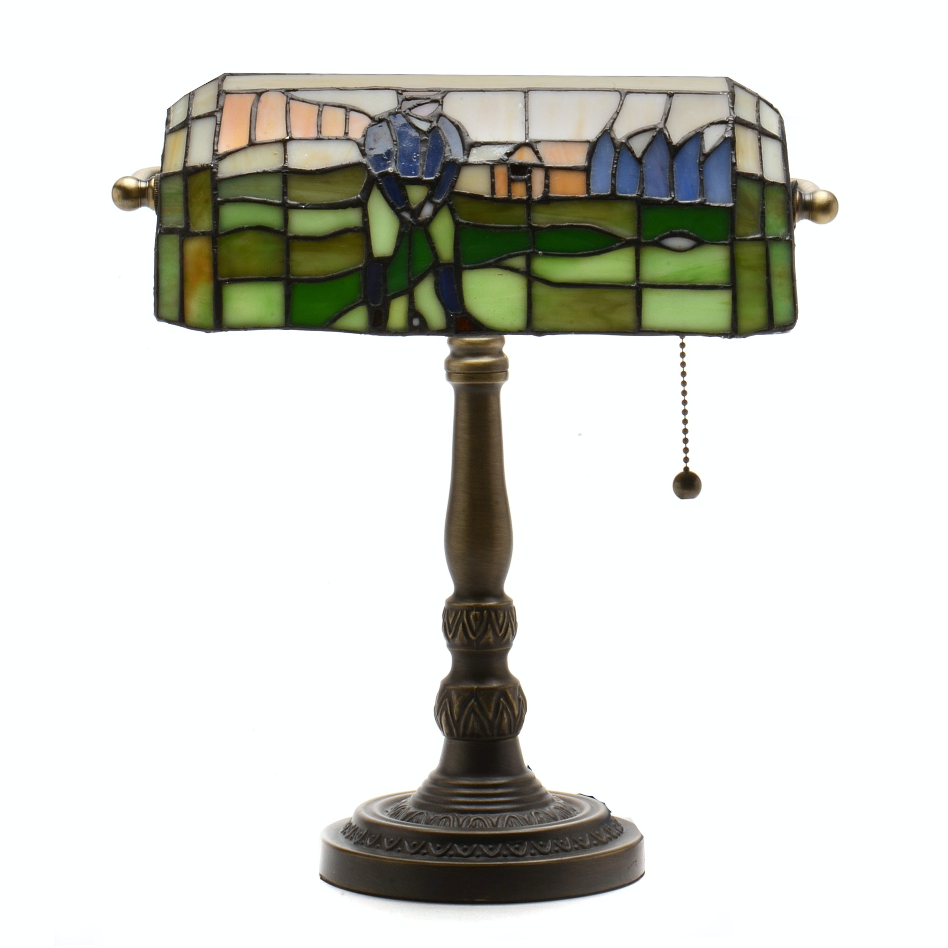 Desk Lamp With Stained Glass Golf Shade ...